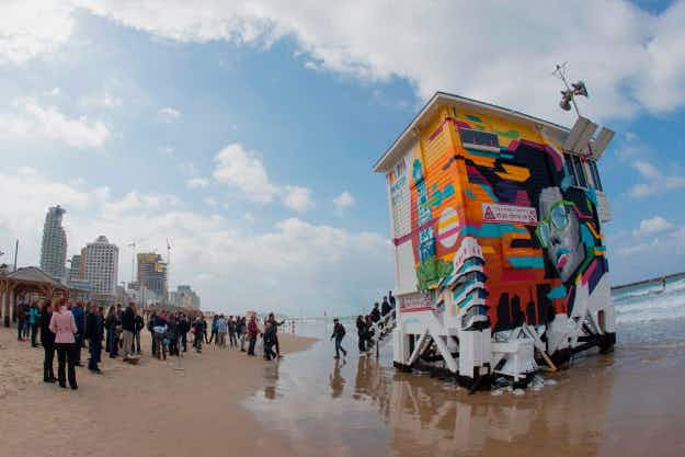 This lifeguard tower has been converted into a hotel suite in Tel Aviv