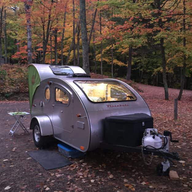 This incredible teardrop camper has a huge overhead window for serious stargazing