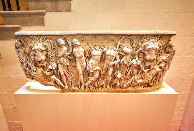An ornately carved Roman coffin has been rescued from humble duty as a flower pot at England's Blenheim Palace