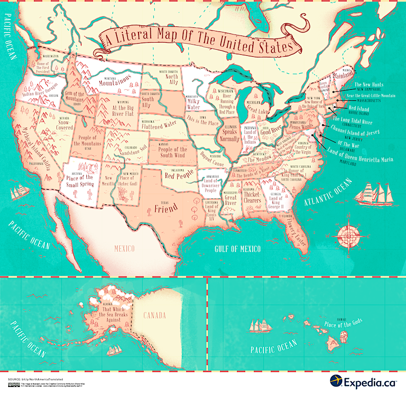 This fascinating map reveals the meaning behind place names ... on usa and brazil map, vacation spots usa map, usa and vancouver map, usa and mexico map, alaska map, usa canada vermont border, usa canada flag, usa map with political, usa and panama map, usa and italy map, usa and world map, usa and carribean map, north america map, usa and texas map, usa and belgium map, usa and el salvador map, latin america map, michigan map, usa and germany map, usa and philippines map,