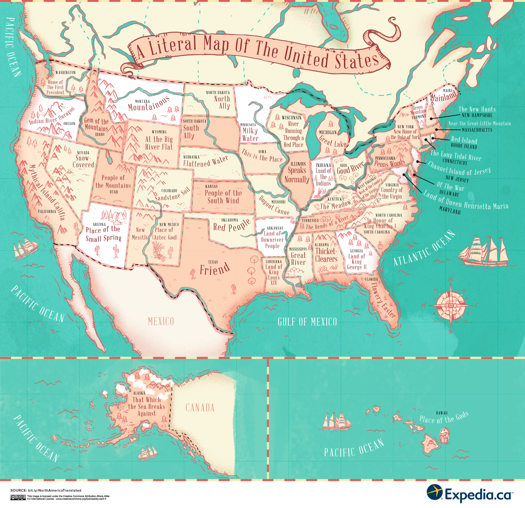 This fascinating map reveals the meaning behind place names in the USA and Canada
