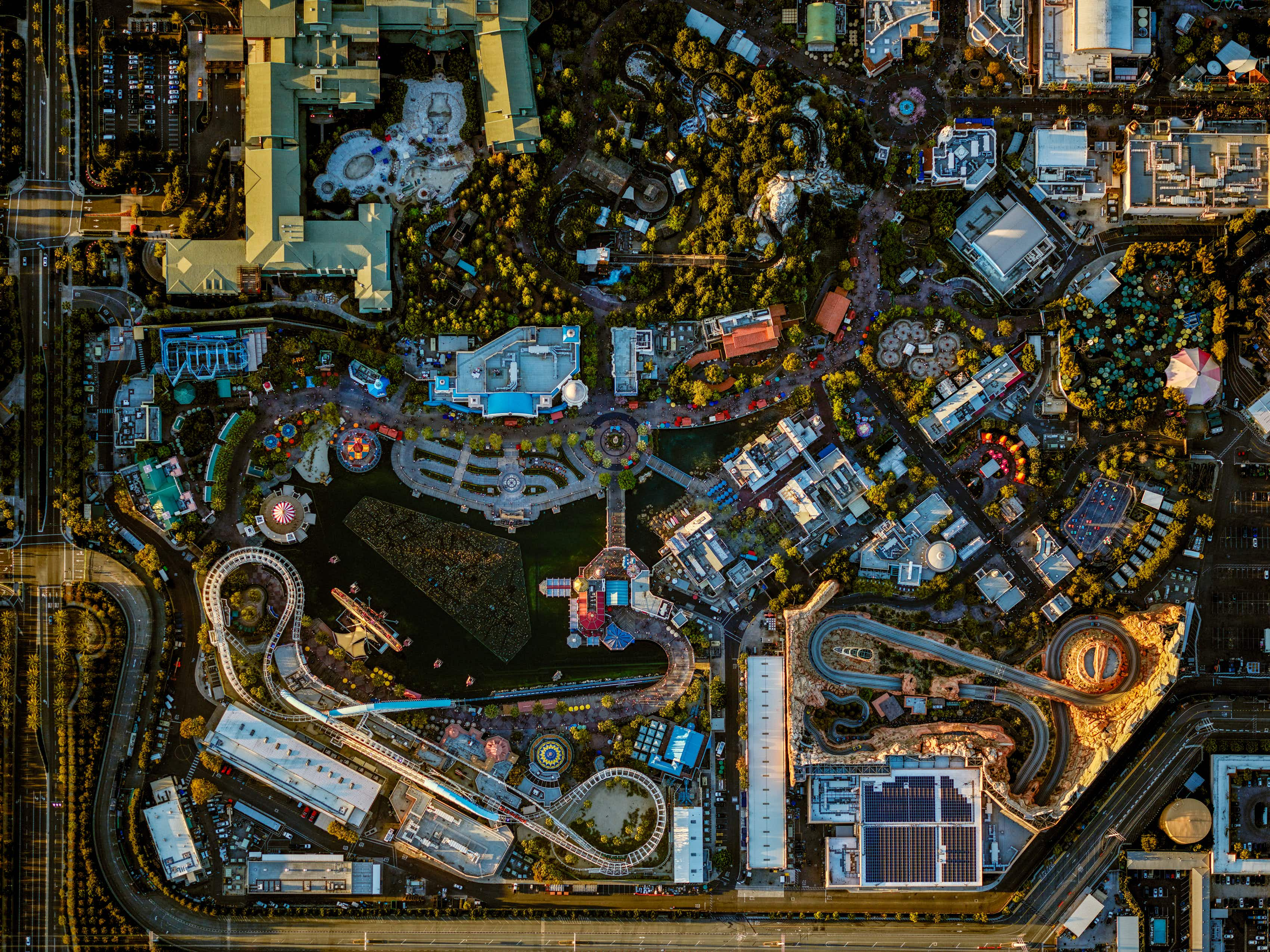 See these spectacular aerial images of Disneyland theme parks from above