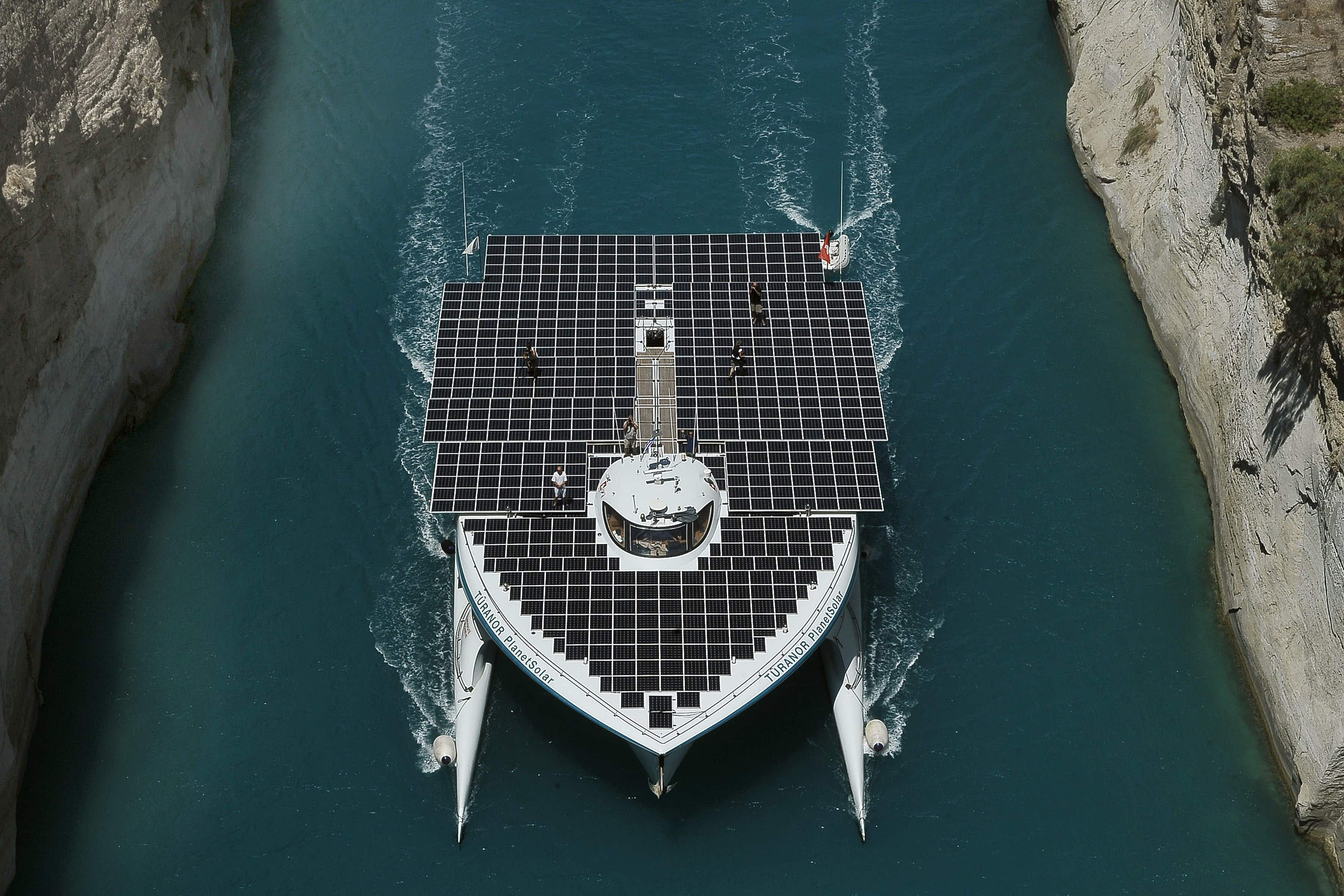 Solar-powered catamaran embarks on five-year world sea voyage to highlight plastic pollution