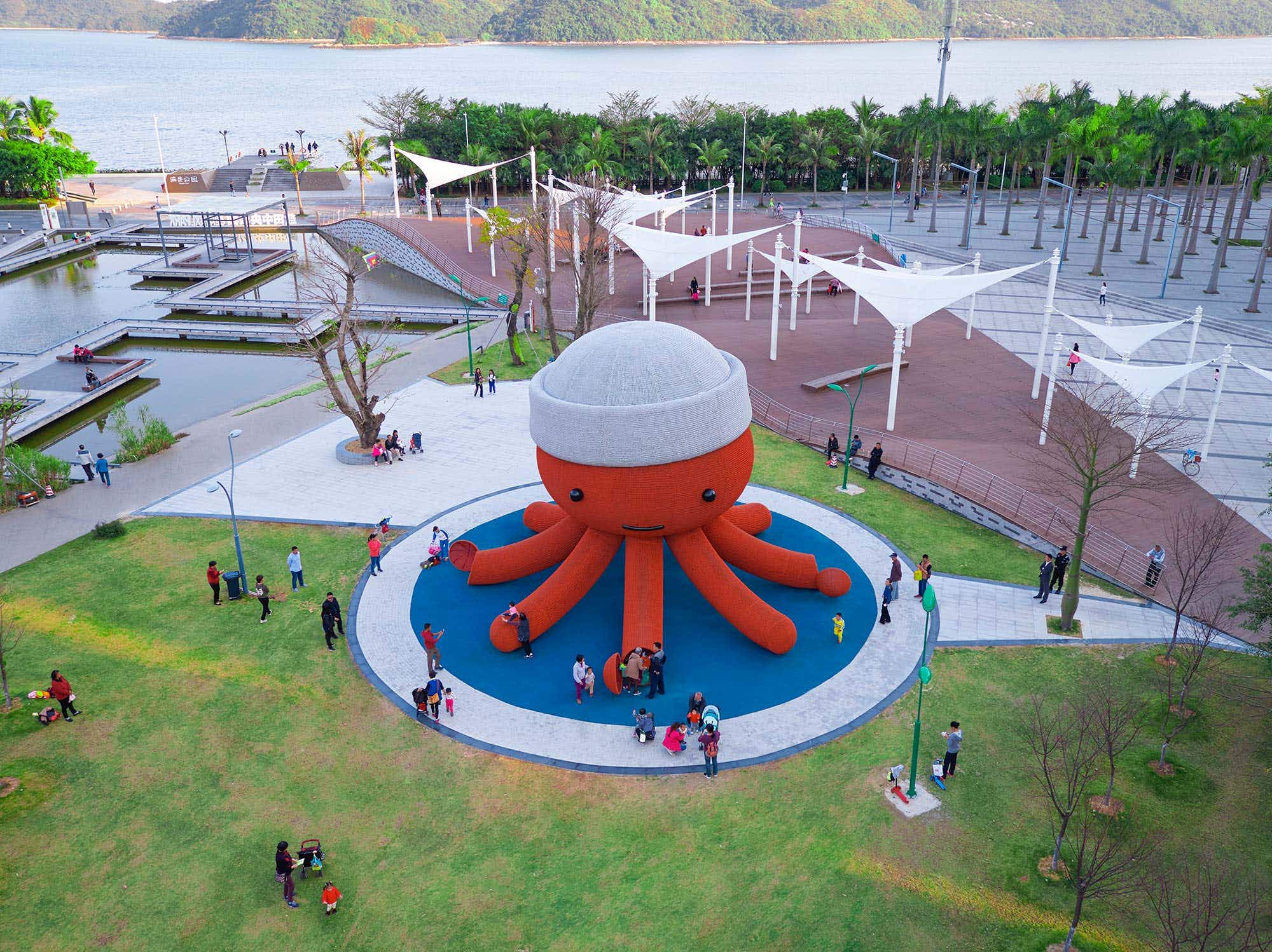 You can climb inside this giant friendly octopus in China