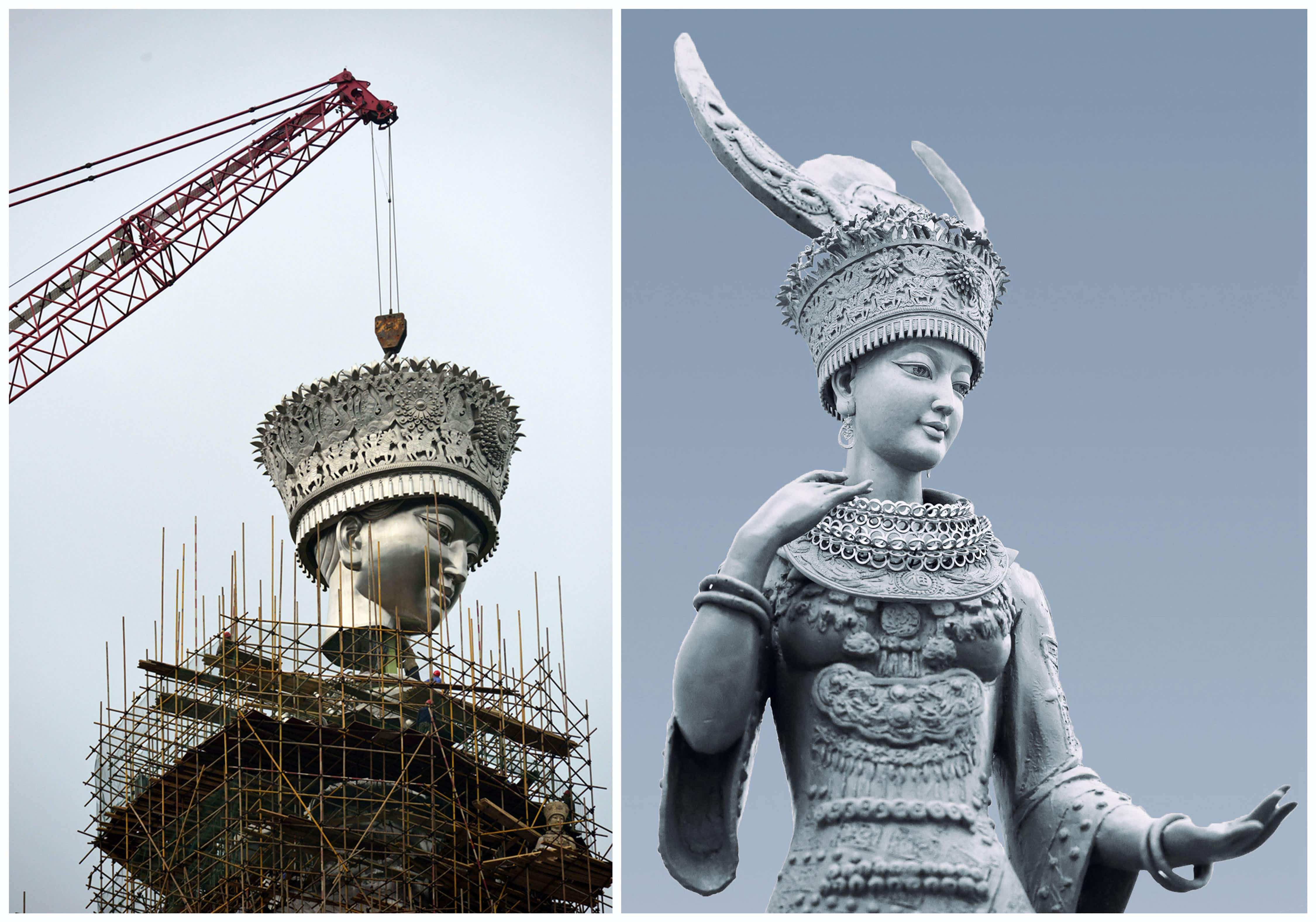 See incredible pictures of a giant statue of the Goddess of Beauty being built in China