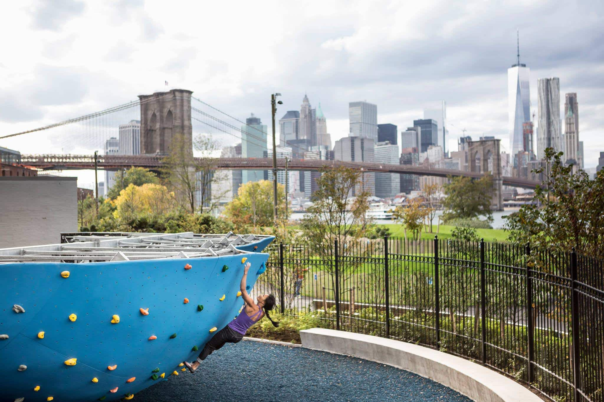 The largest outdoor climbing gym in North America is returning to Brooklyn Bridge Park