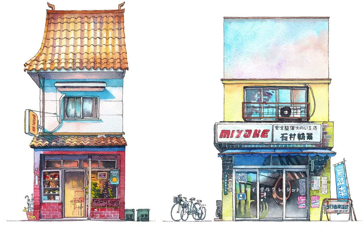Tokyo's unique shopfronts are captured in this series of beautiful watercolours
