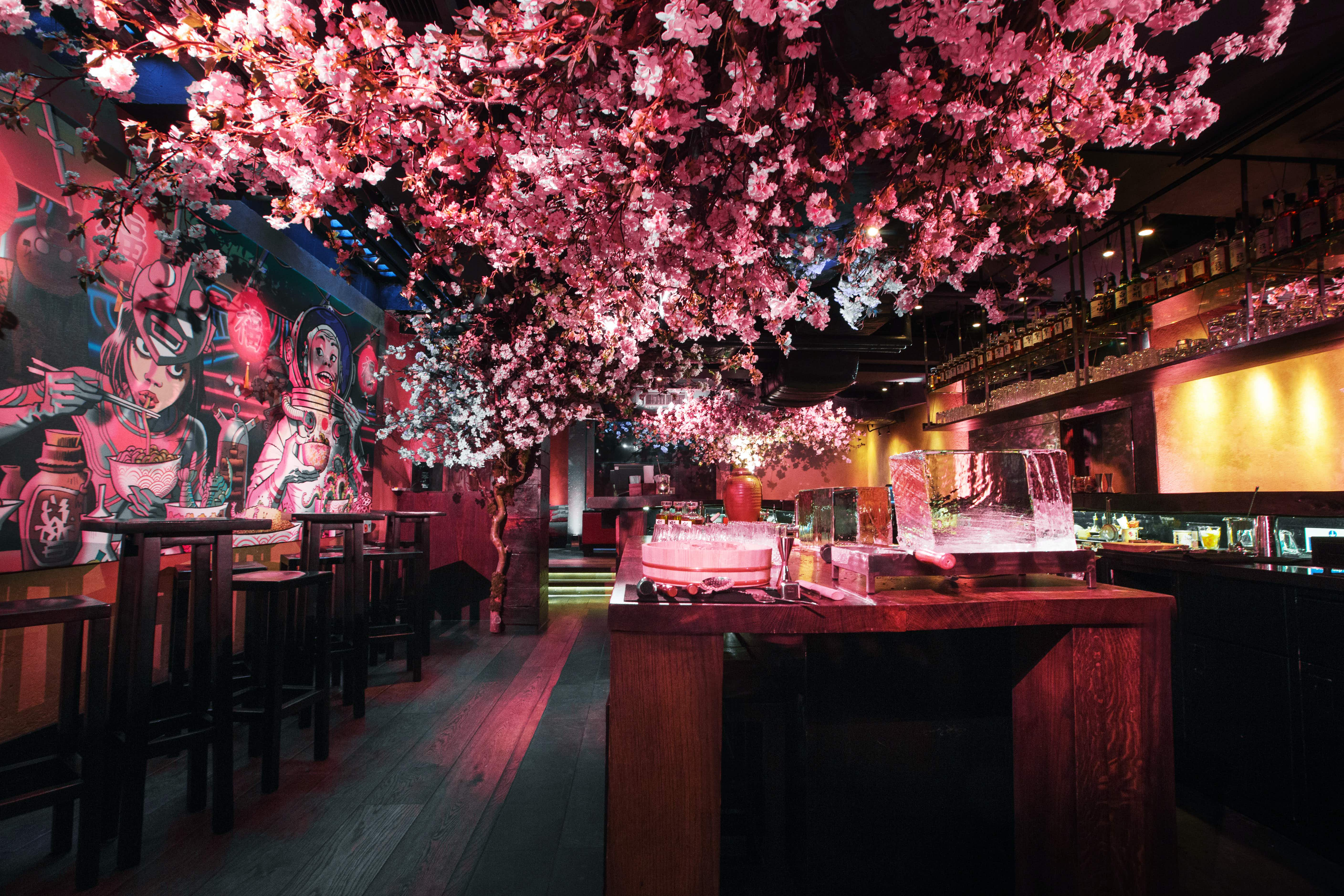 You can sip sakura cocktails under a canopy of cherry blossoms at this London restaurant