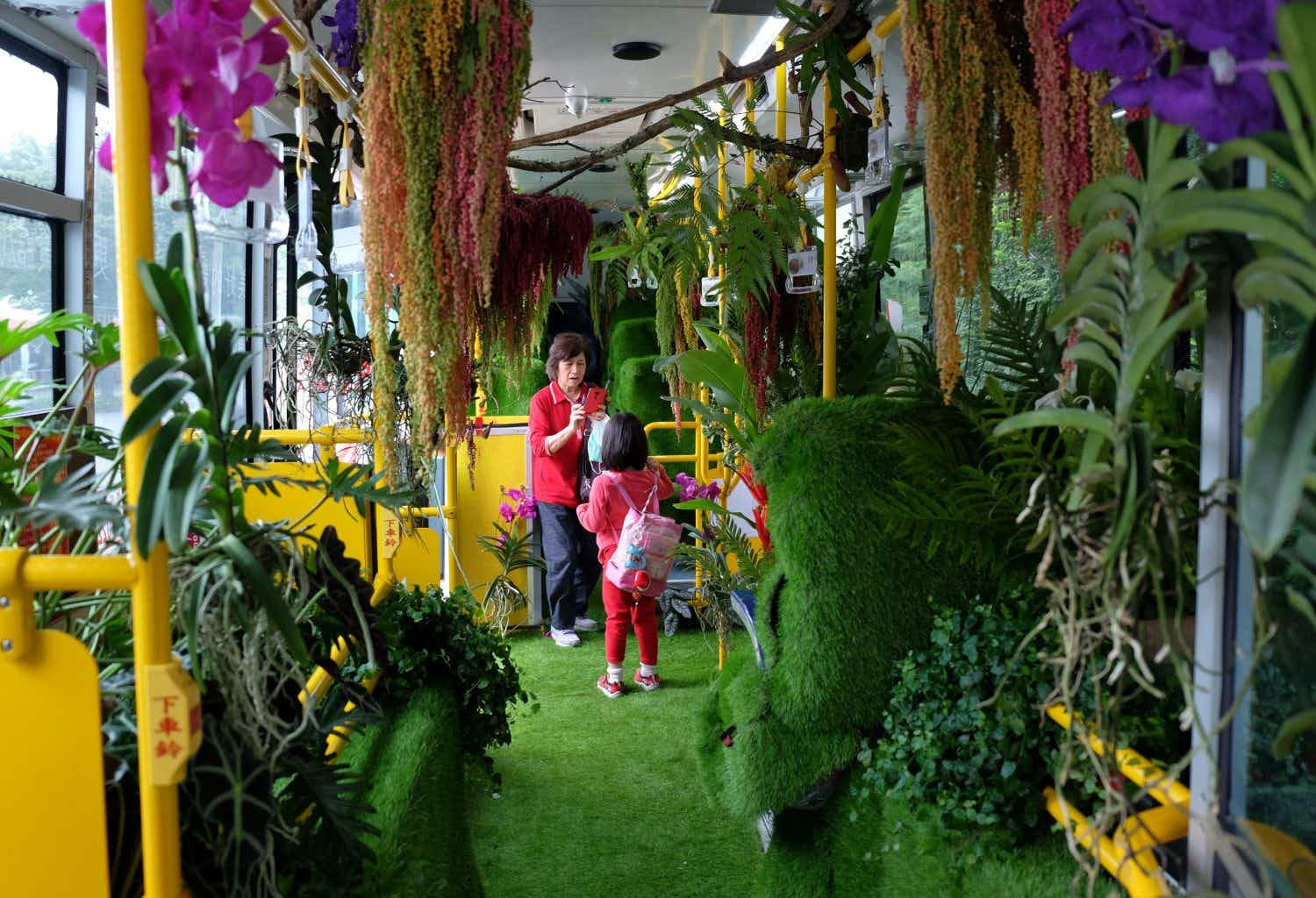 This ordinary commuter bus has been turned into a beautiful 'forest' in Taiwan