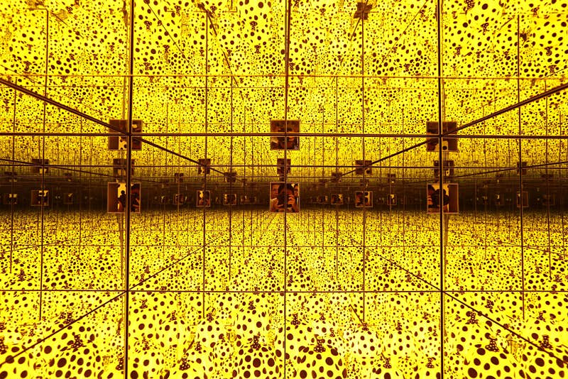 A general view of Yayoi Kusama's exhibit titled 'The Spirits of Pumpkins Descended into the Heavens' during a  preview at National Gallery Singapore. Image by: Getty Images
