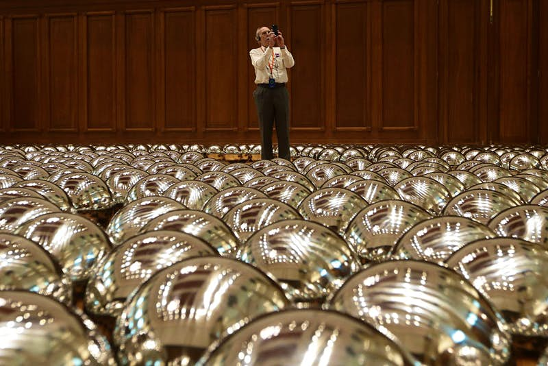 Yayoi Kusama's 1500 stainless steel balls installation titled 'Narcissus Garden 2017'. Image by: Getty Images