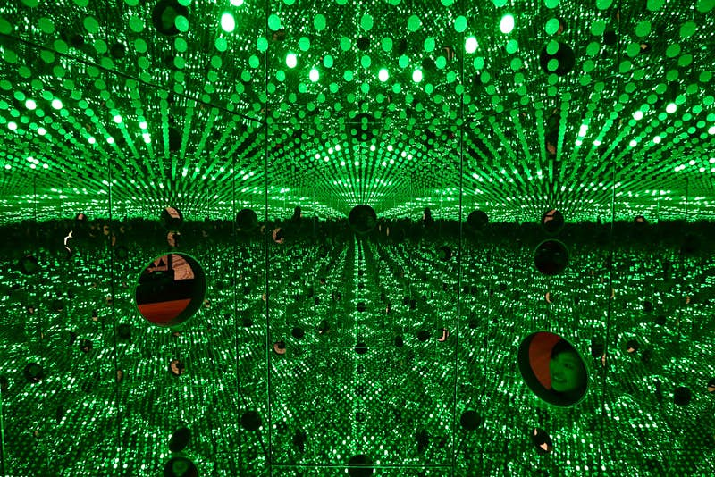 Yayoi Kusama's mirrored box and light bulbs installation, titled 'I Want to Love on the Festival Night 2017'. Image by: Getty Images