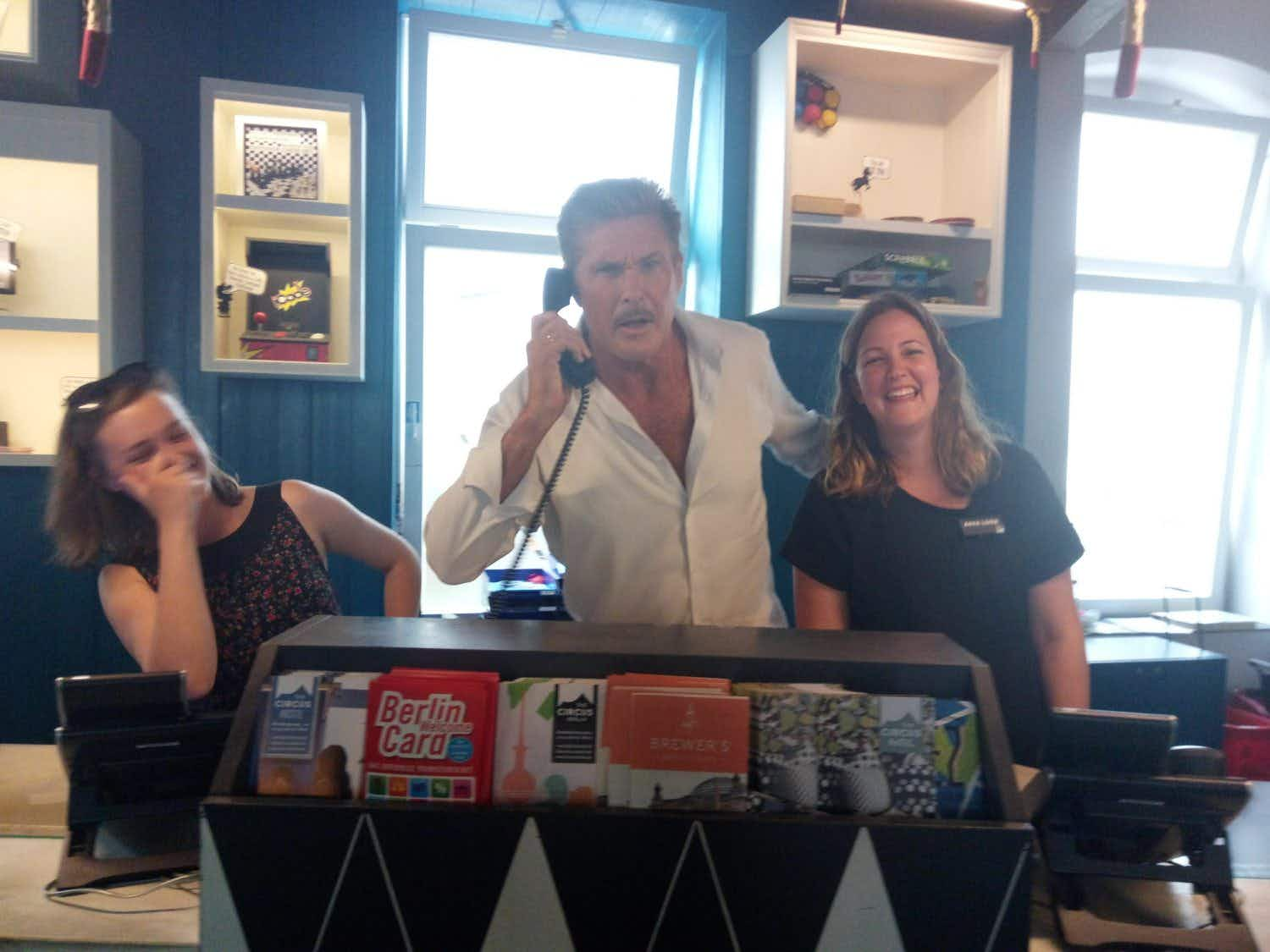 David Hasselhoff paid a visit to the Berlin hostel that has a shrine to him