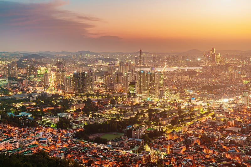 The Seoul cityscape at sunset