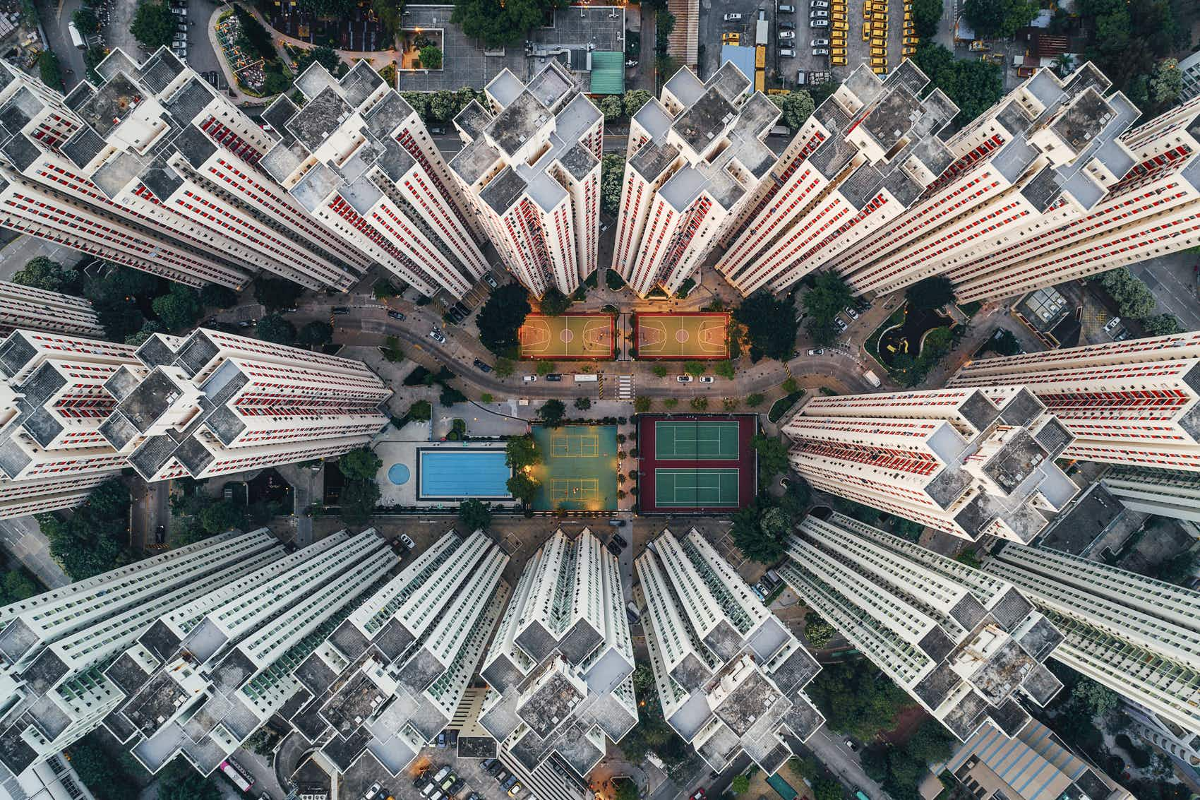 A photographer has captured the unique architecture of Hong Kong from above