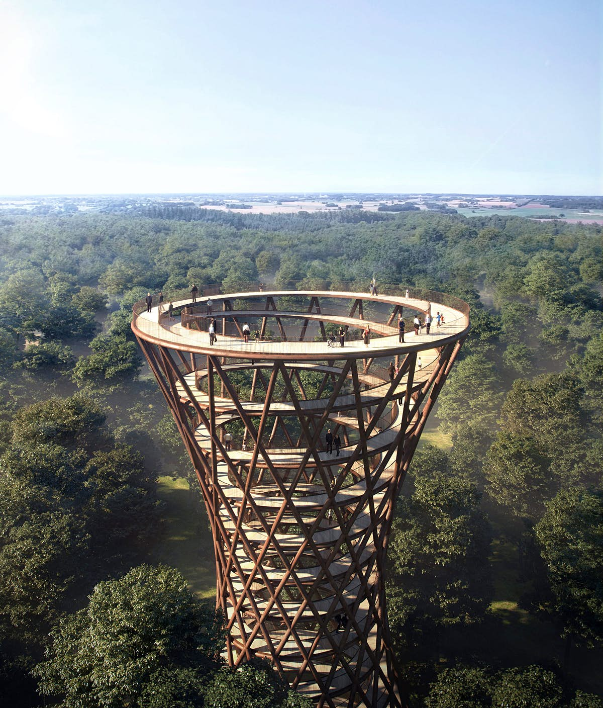 Plans unveiled for an incredible spiral treetop walkway in Denmark
