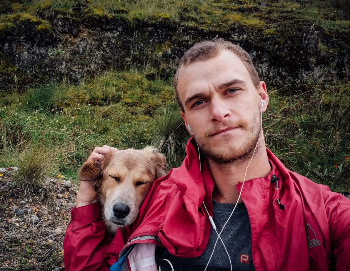 One man and his dog are about to start the second leg of their walk around the world