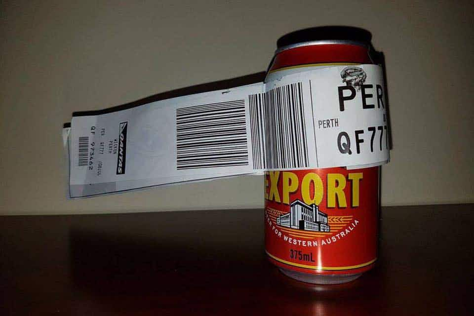 Man checks in a single can of beer on an Australian flight from Melbourne to Perth
