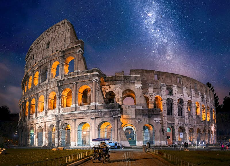 The Colosseum in Rome at night.