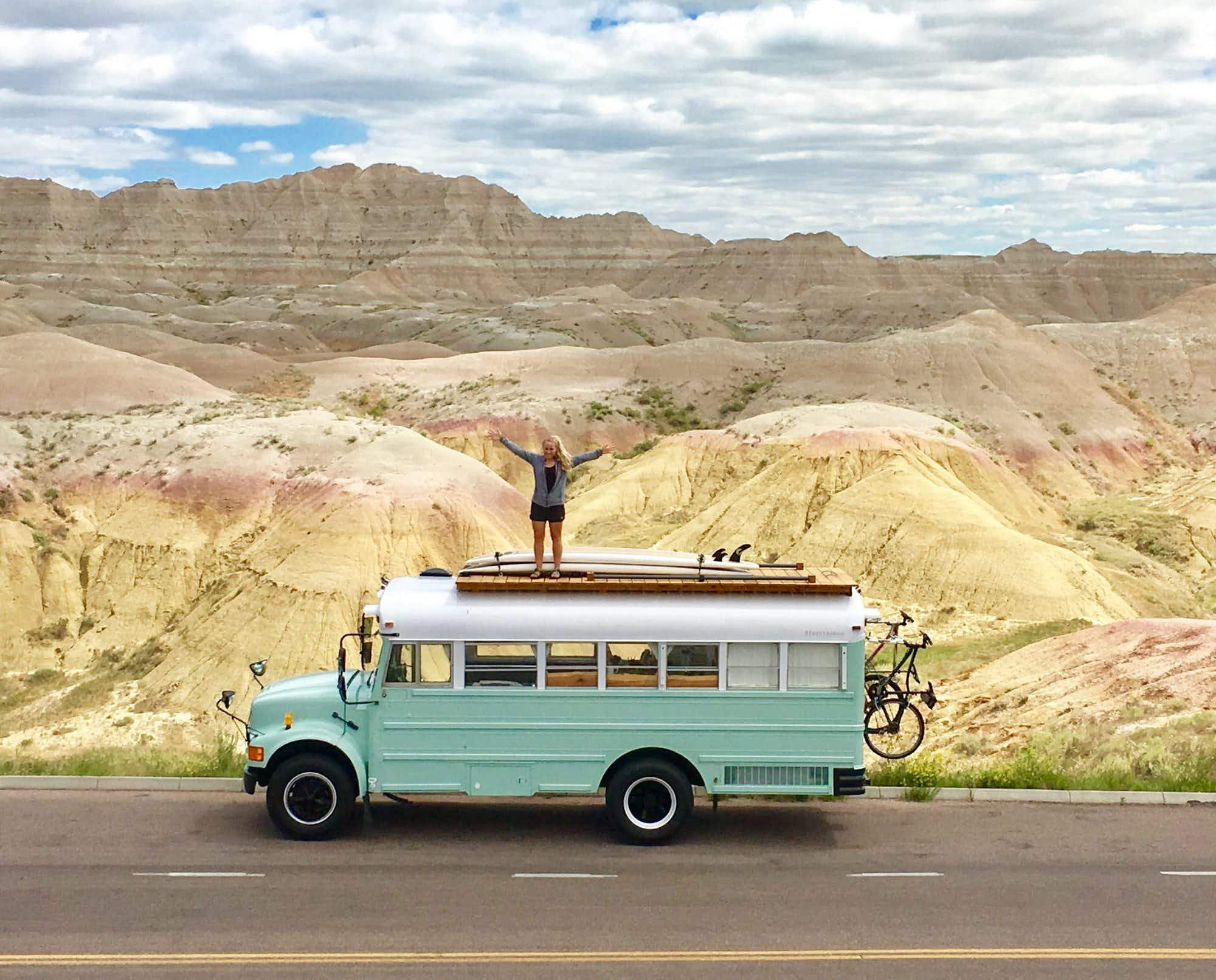 A 24-foot repurposed school bus is home for this couple travelling across America