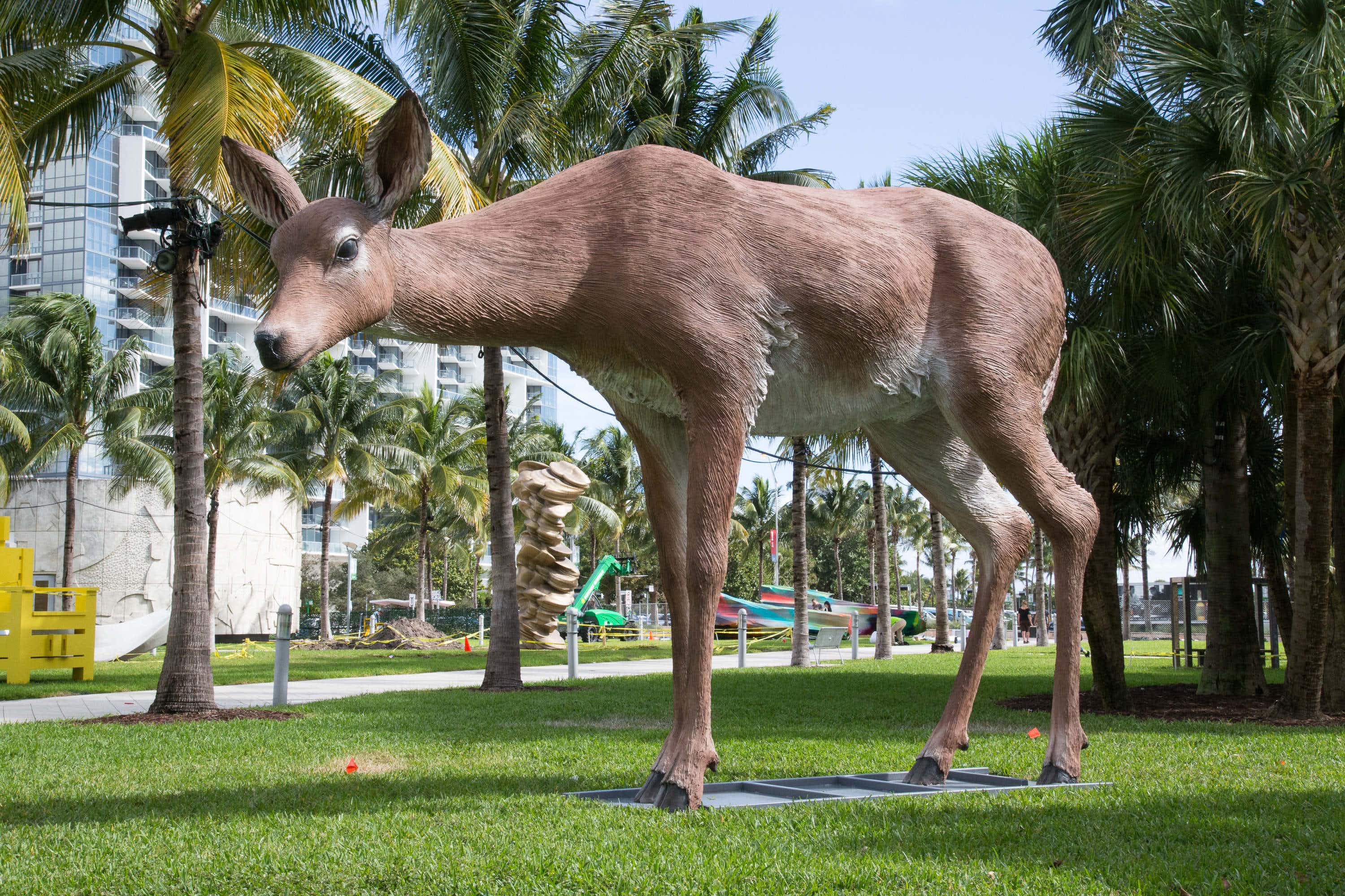 A giant deer and a 'Real Fake' sculpture are among the new public artworks on Chicago's Riverwalk