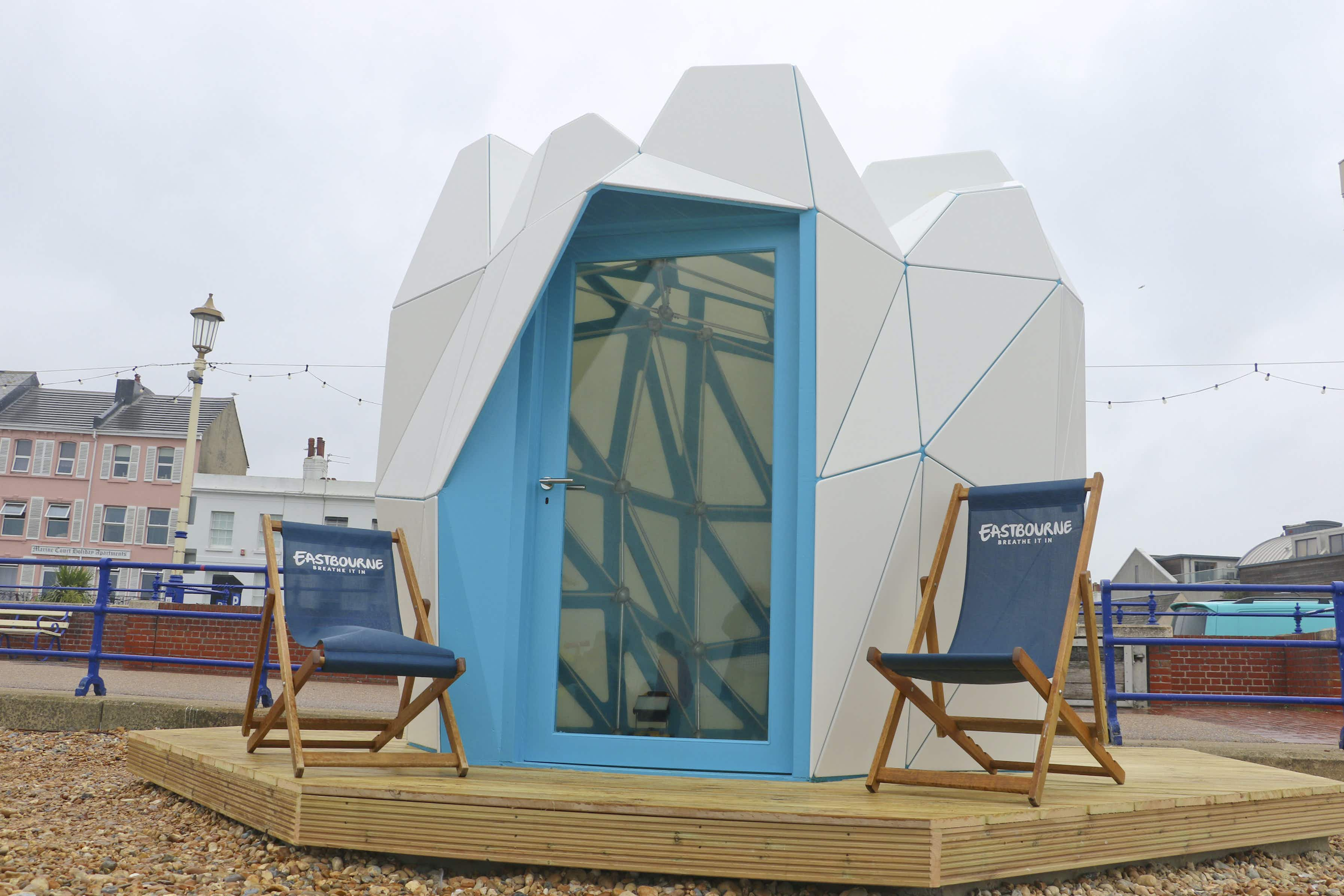 A competition-winning beach hut has been unveiled on Eastbourne Beach in England