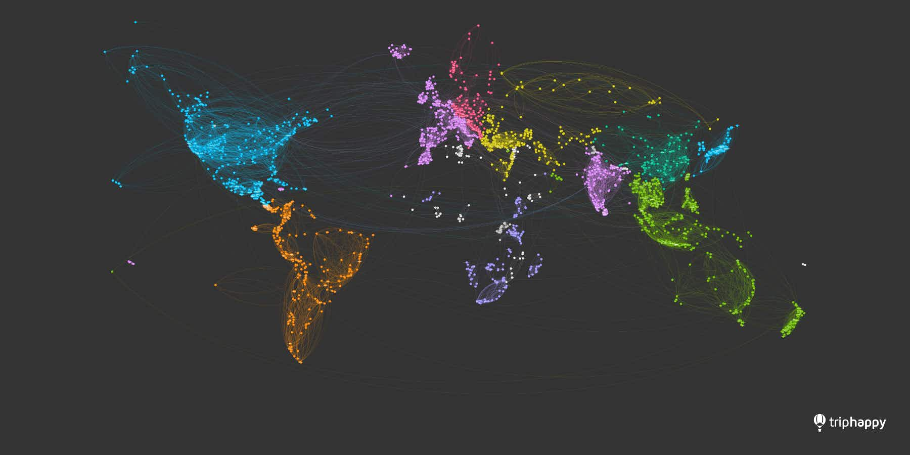 See this beautiful world map created from travellers' journeys