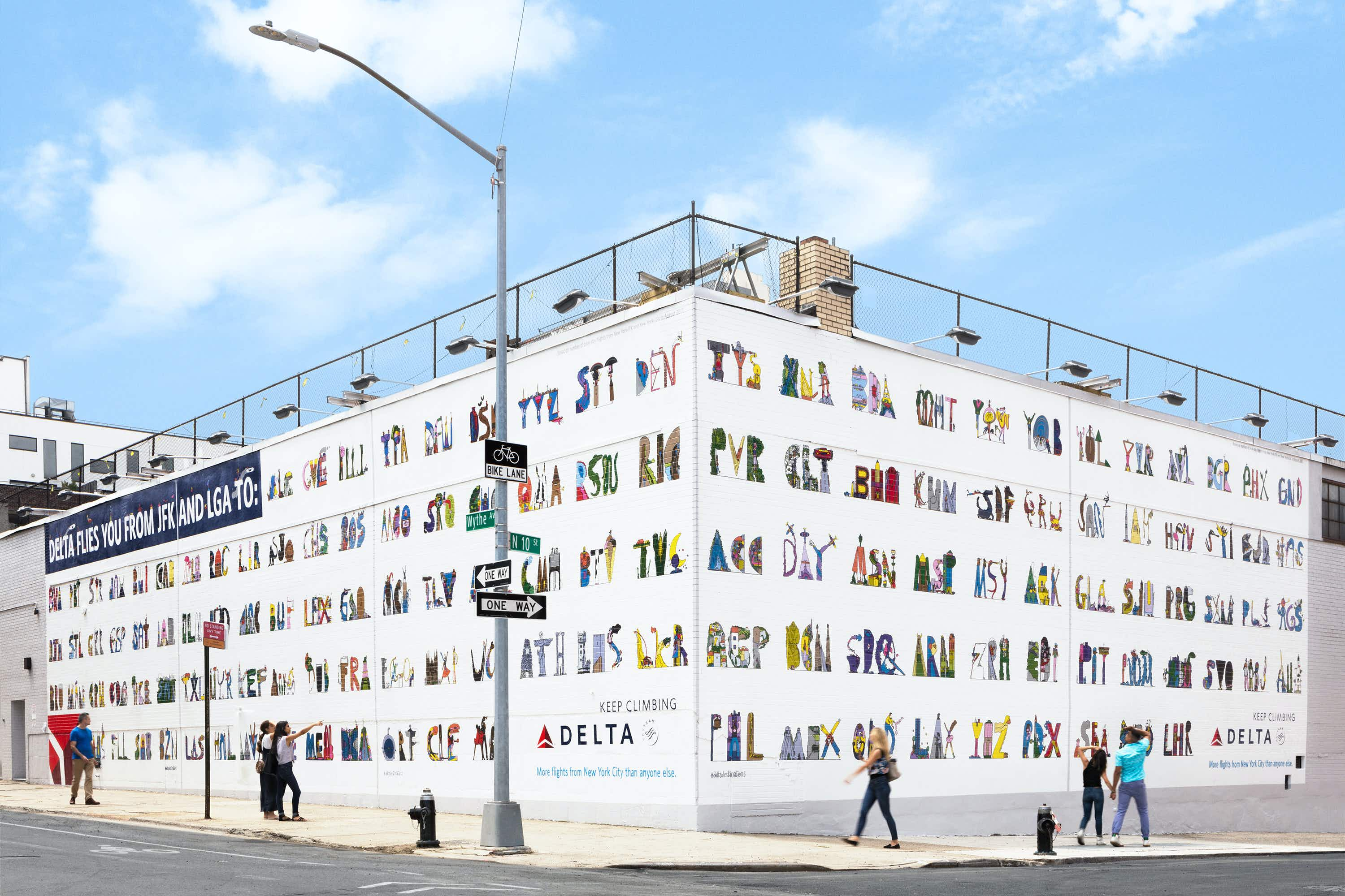 Delta replaces its dating wall in Brooklyn with cool airport codes street art