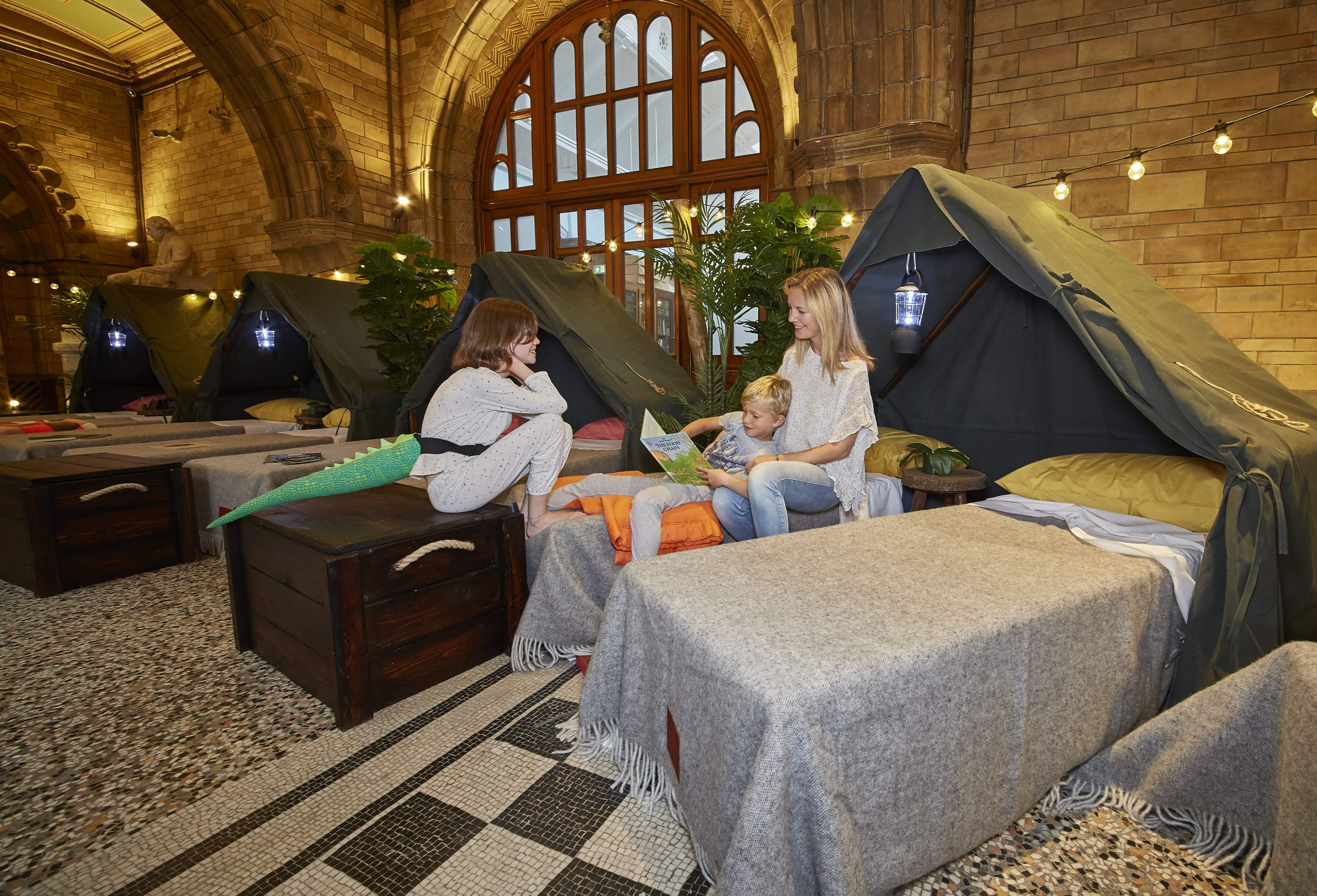 Airbnb is offering family sleepovers at its exclusive Base Camp at London's Natural History Museum
