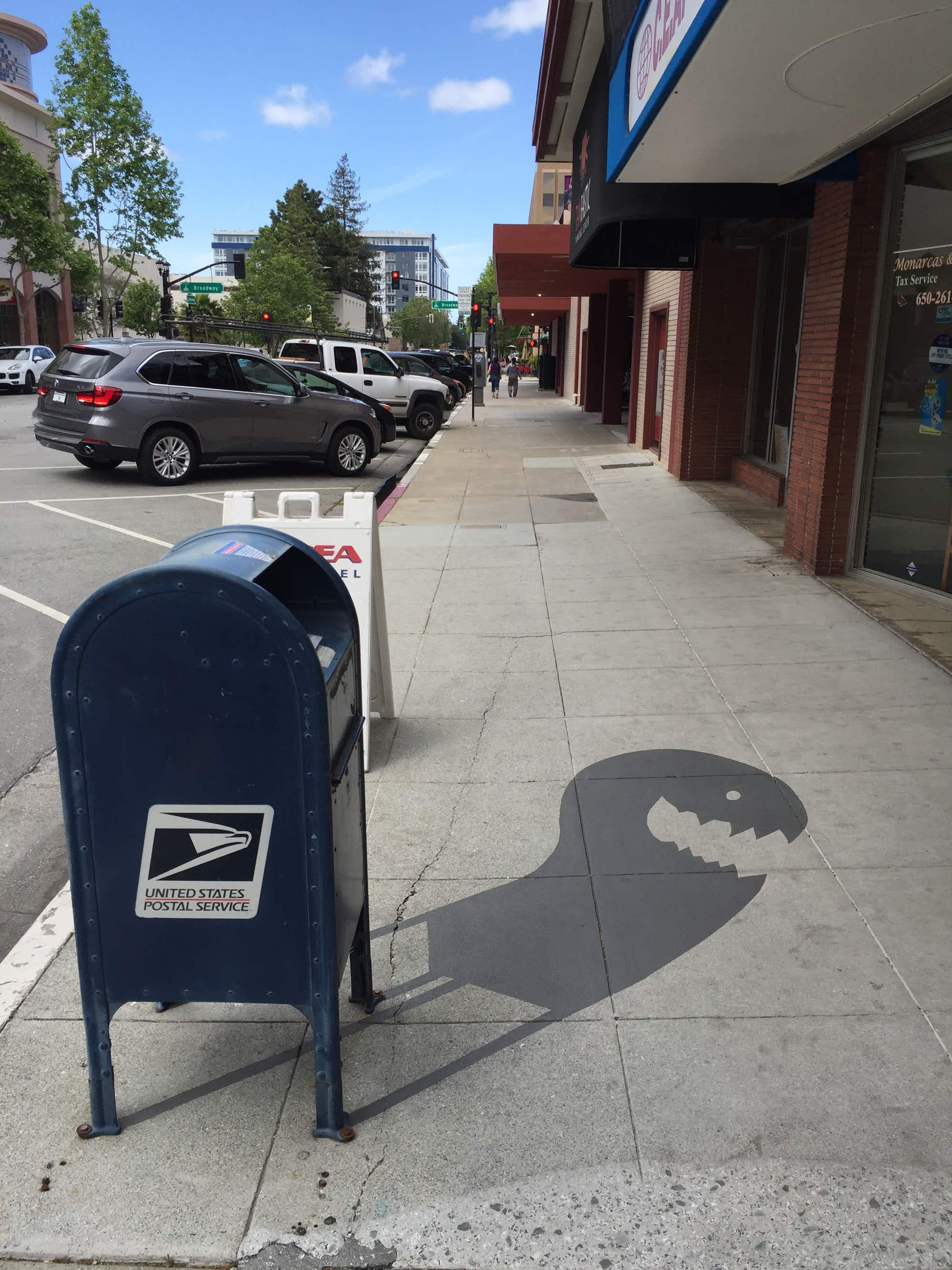 Magical shadow art is transforming everyday objects on the streets of Redwood in California