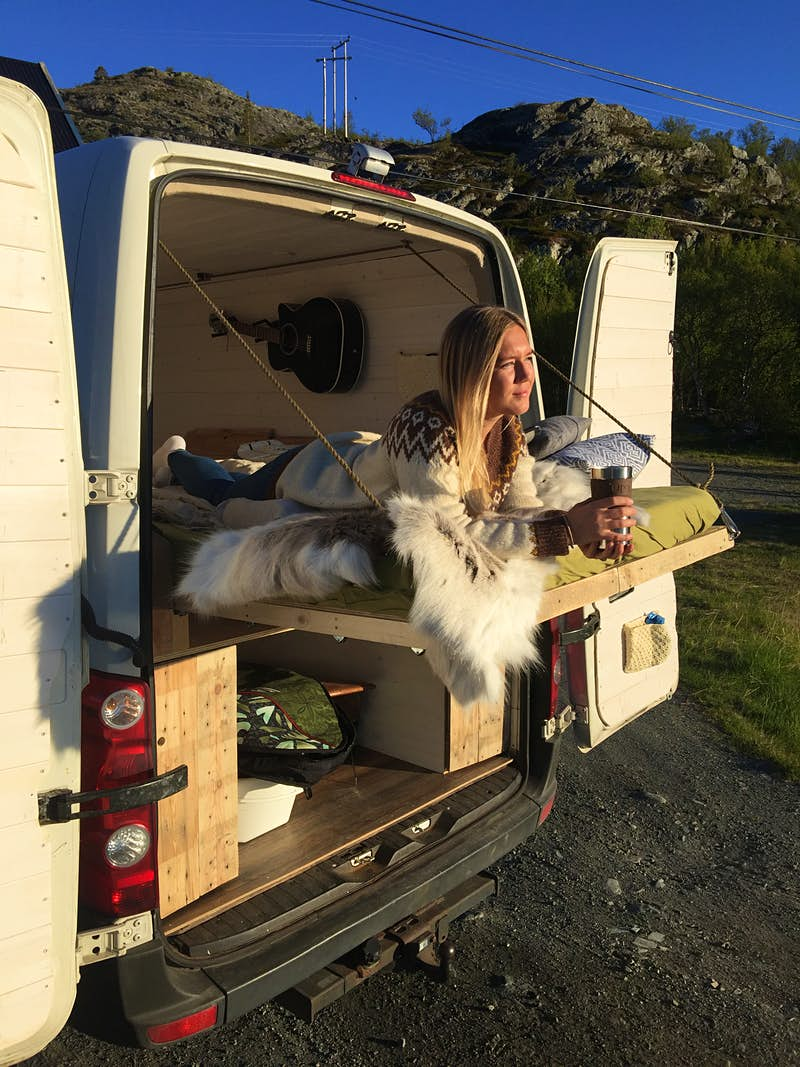 Norwegian couple convert van to surf around Europe