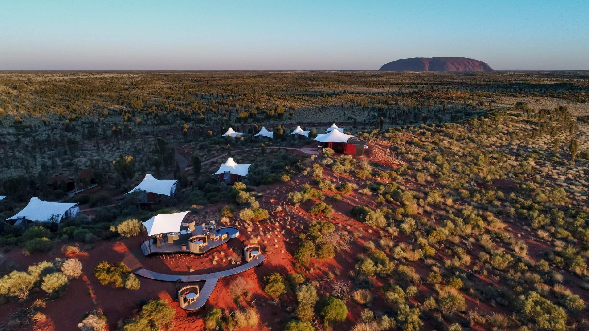 This newly-relaunched luxury outback camp in Australia offers views of Uluru