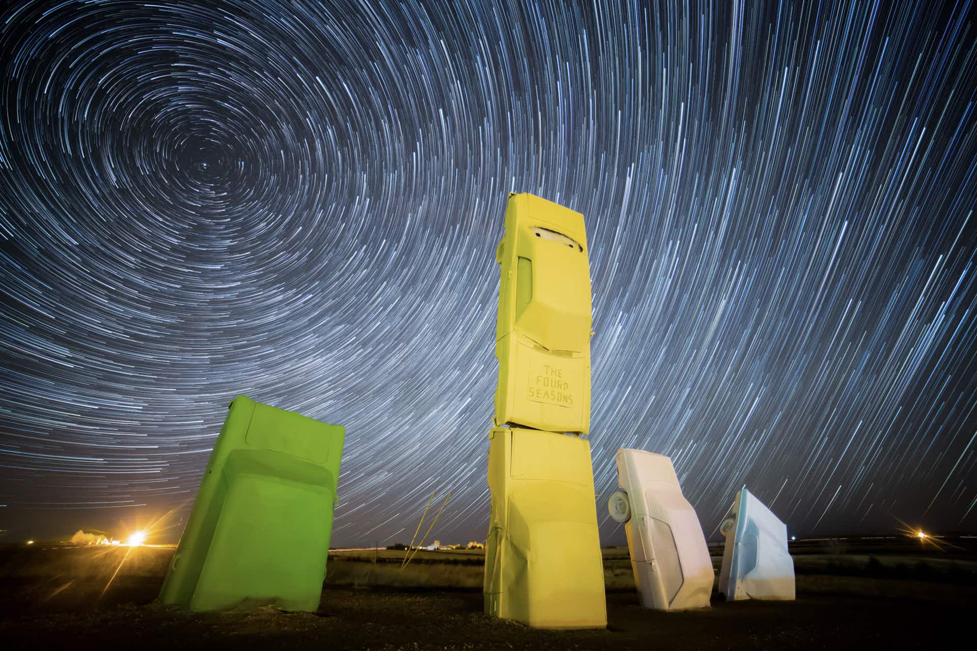 This time-lapse video captures sunsets, star trails and the total eclipse over Nebraska's Carhenge