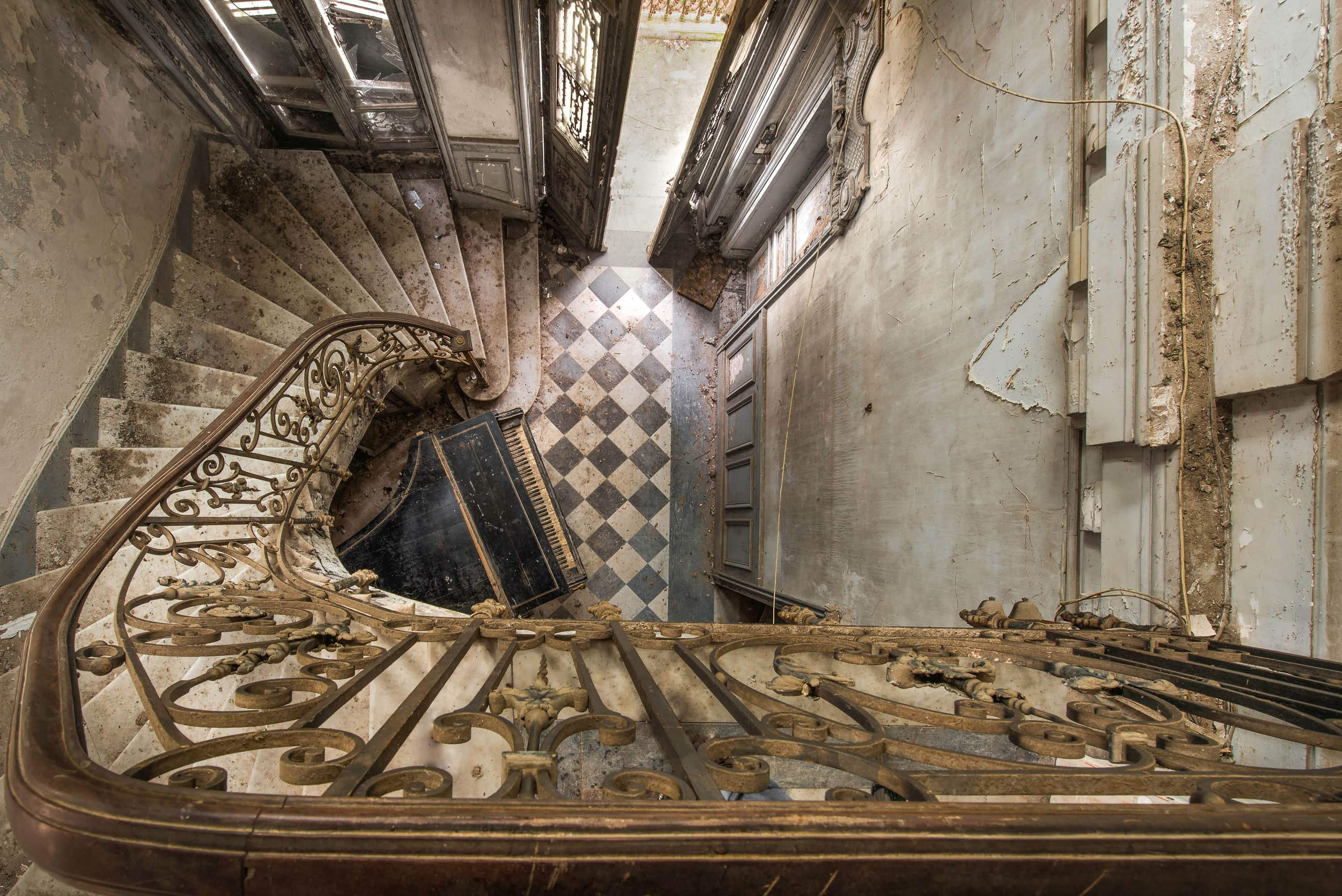 Grand staircases spiralling into decay across Europe beautifully captured in a photo essay