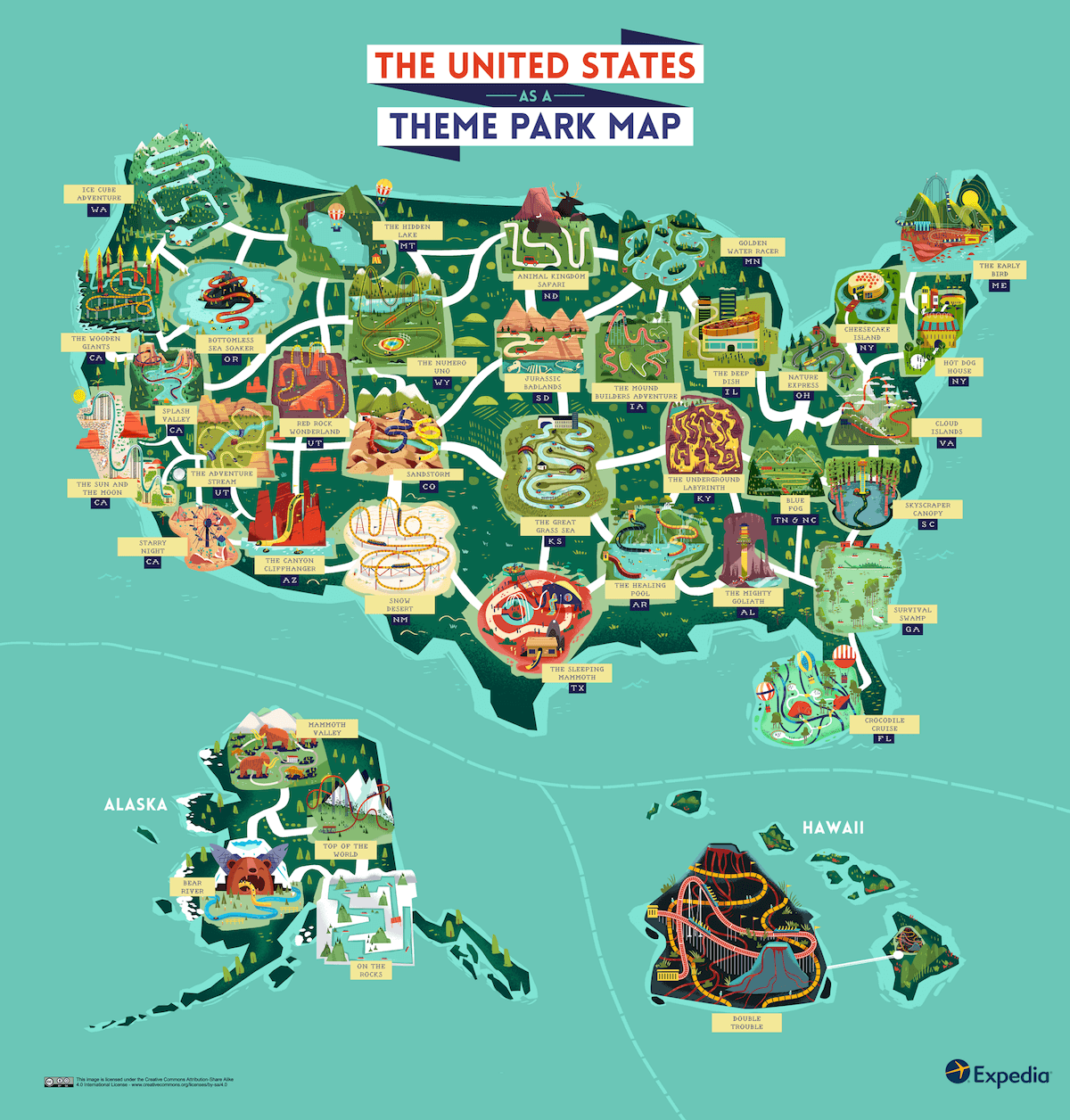 See the USA as an outdoor theme park with this colourful map