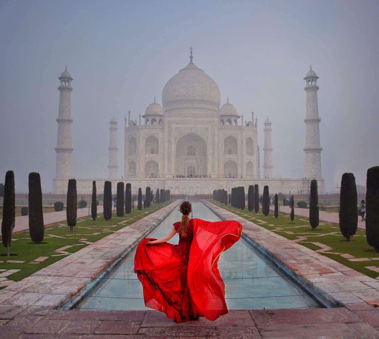 This traveller wears stunning dresses in exotic locations