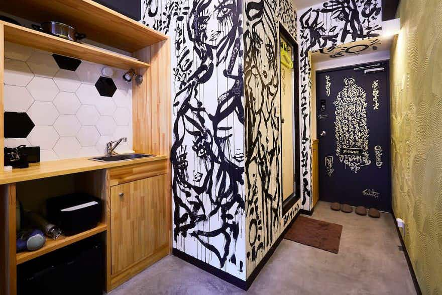 This Airbnb guest left behind an incredible mural on the host's walls