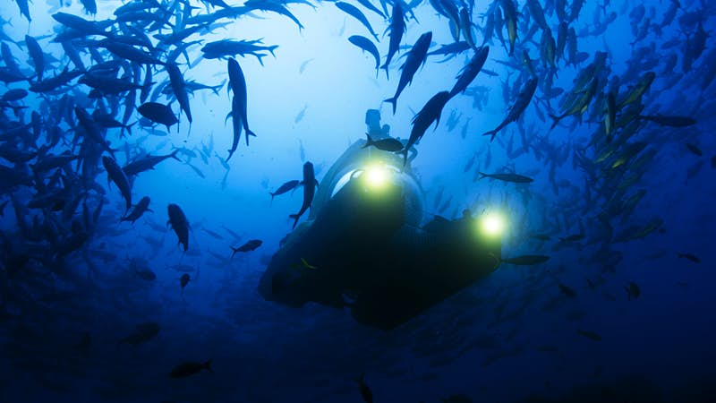 The submersible 'Nadir' at the start of a dive into the abyss off Cocos Island. Image by BBC