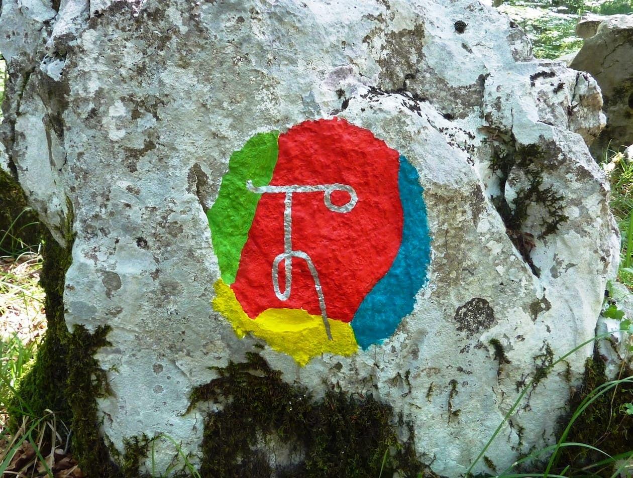 Seven decorated stones make up the 'Fairy Gathering'.  Photo by Boris Pecigoš