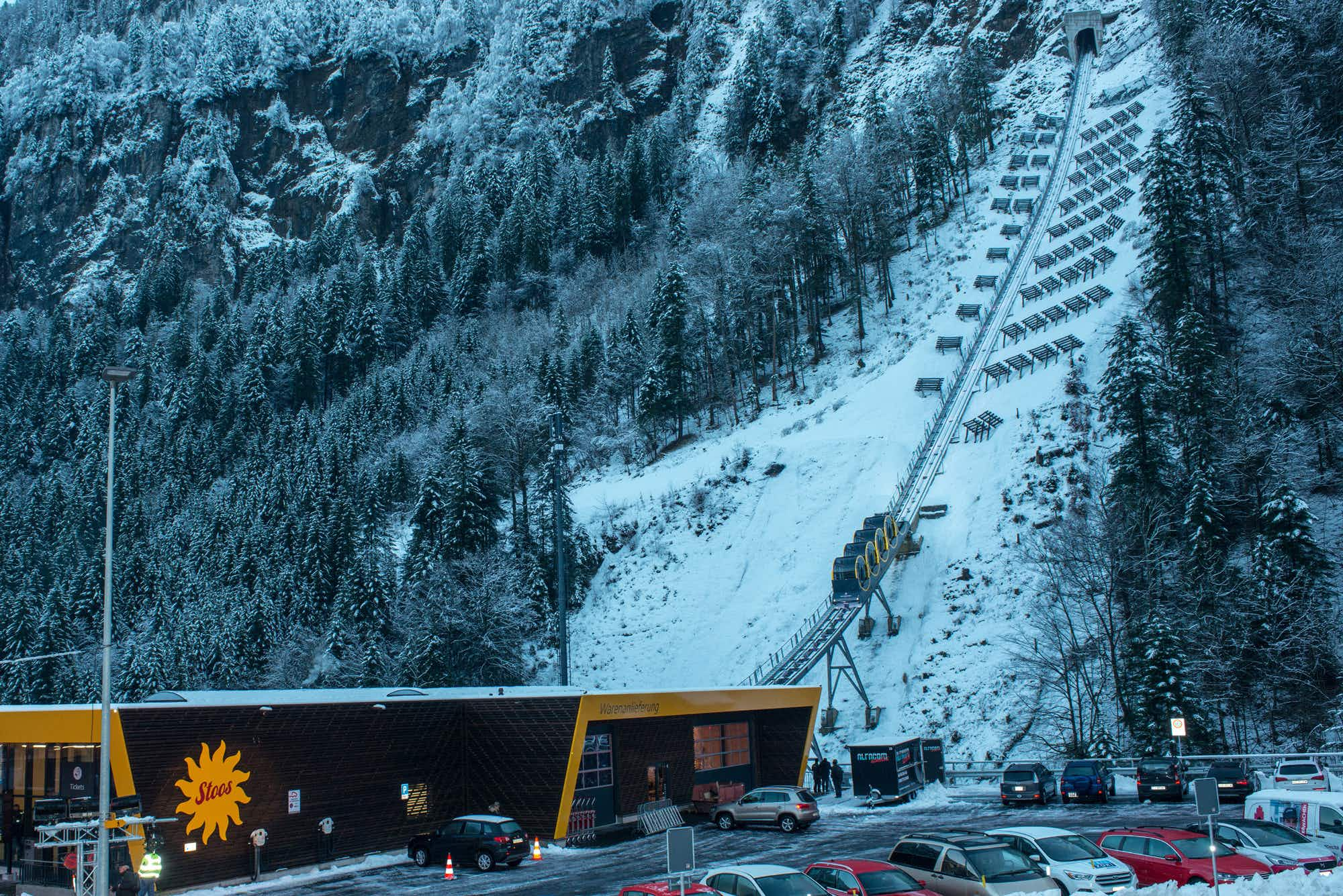 World's steepest funicular railway opens in Swiss mountain village