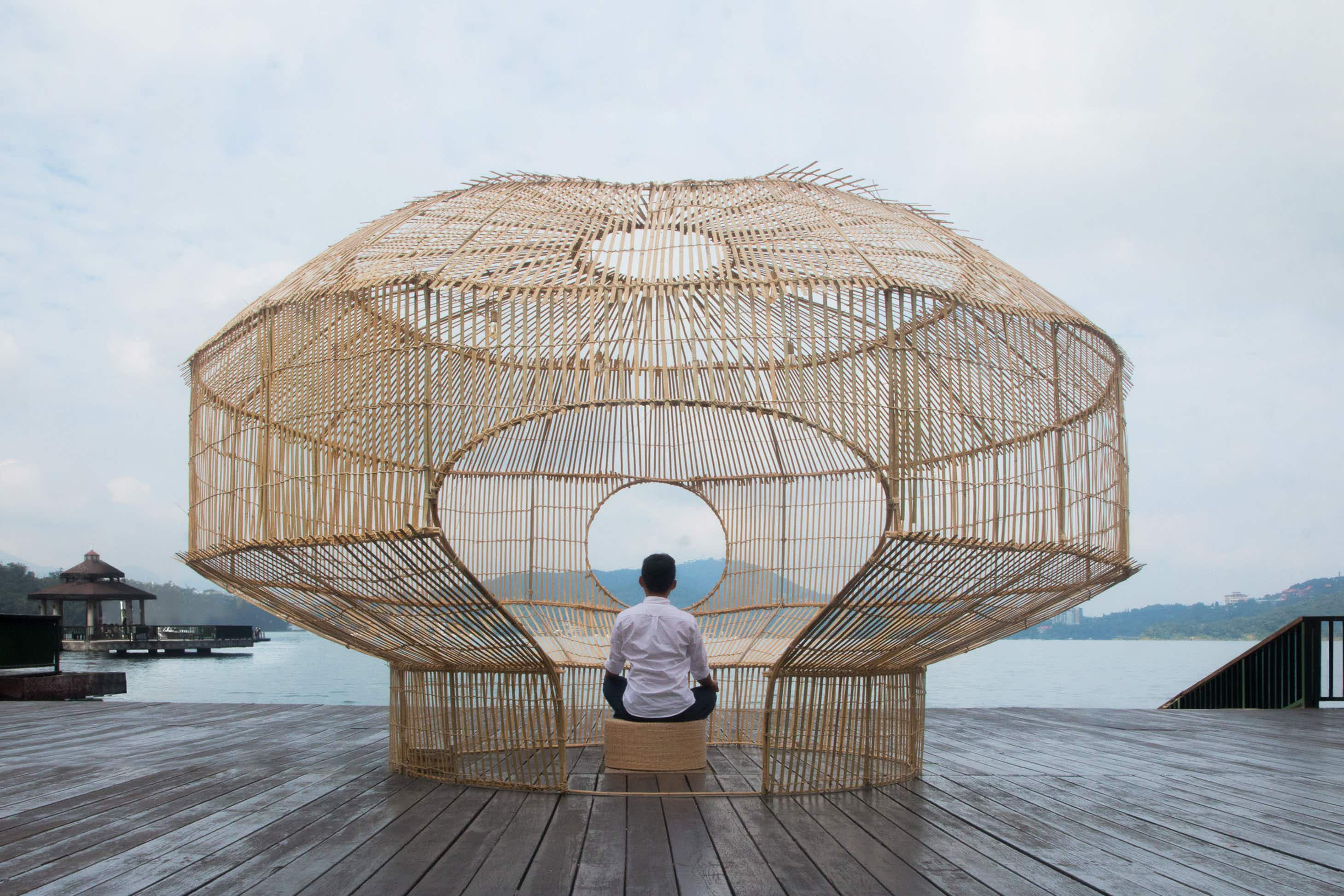 Visit the bamboo house inspired by traditional Taiwanese fishing traps