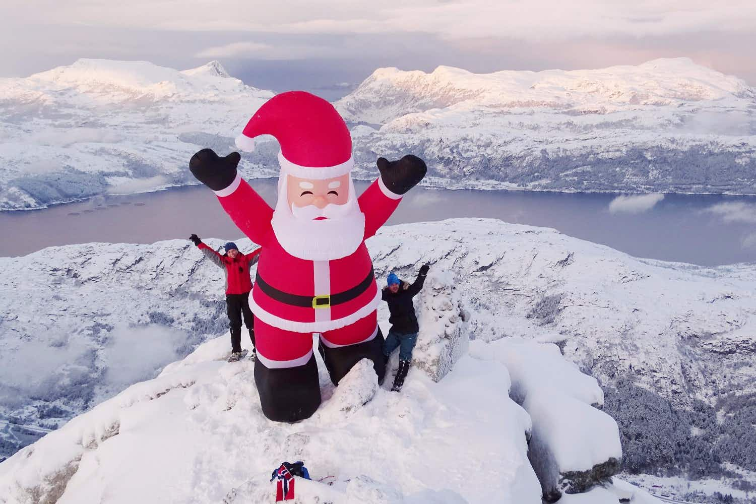 Why this group of Norwegian friends brought an inflatable Santa to Europe's highest cliff