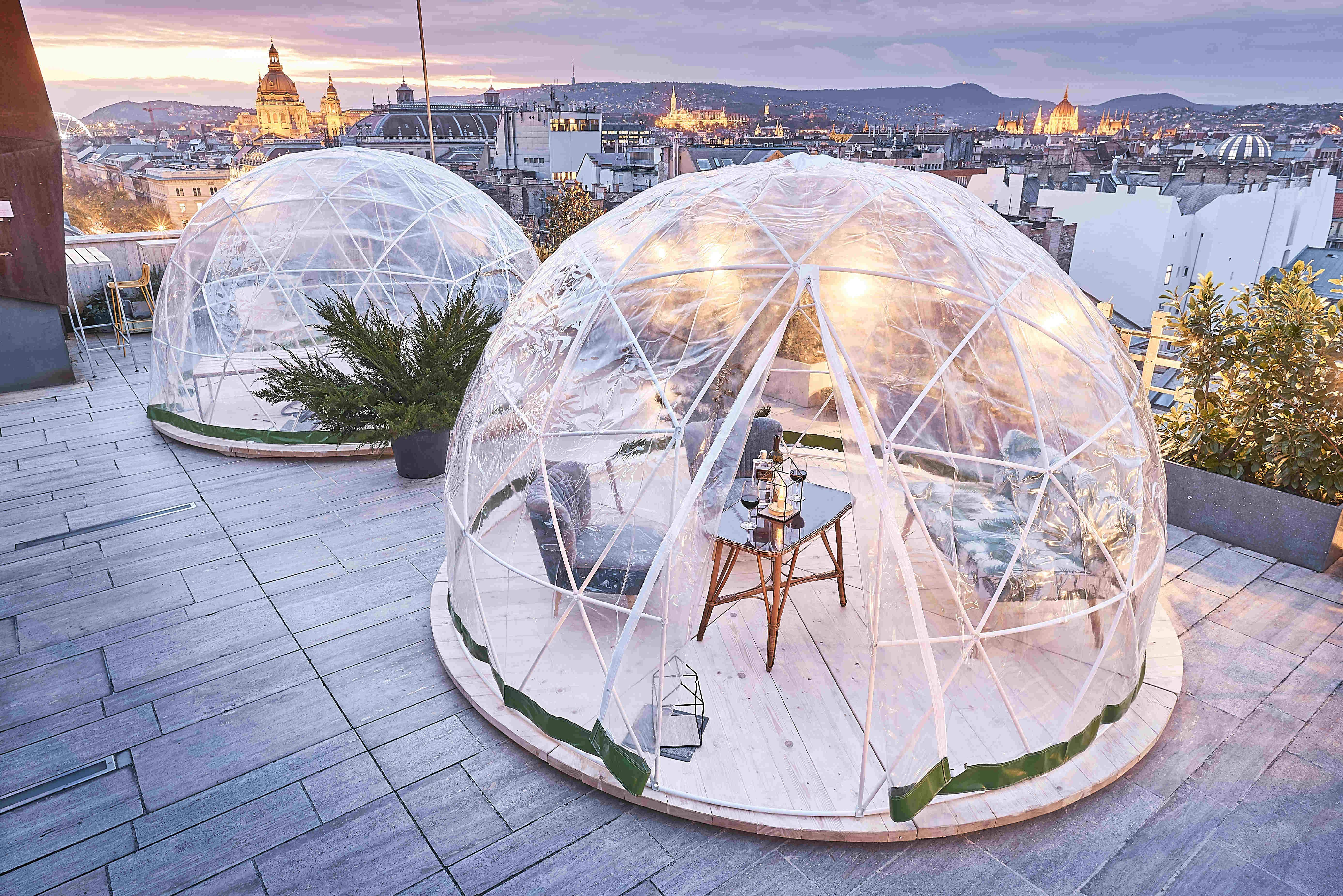 Enjoy the wintry beauty of Budapest from a rooftop igloo bar