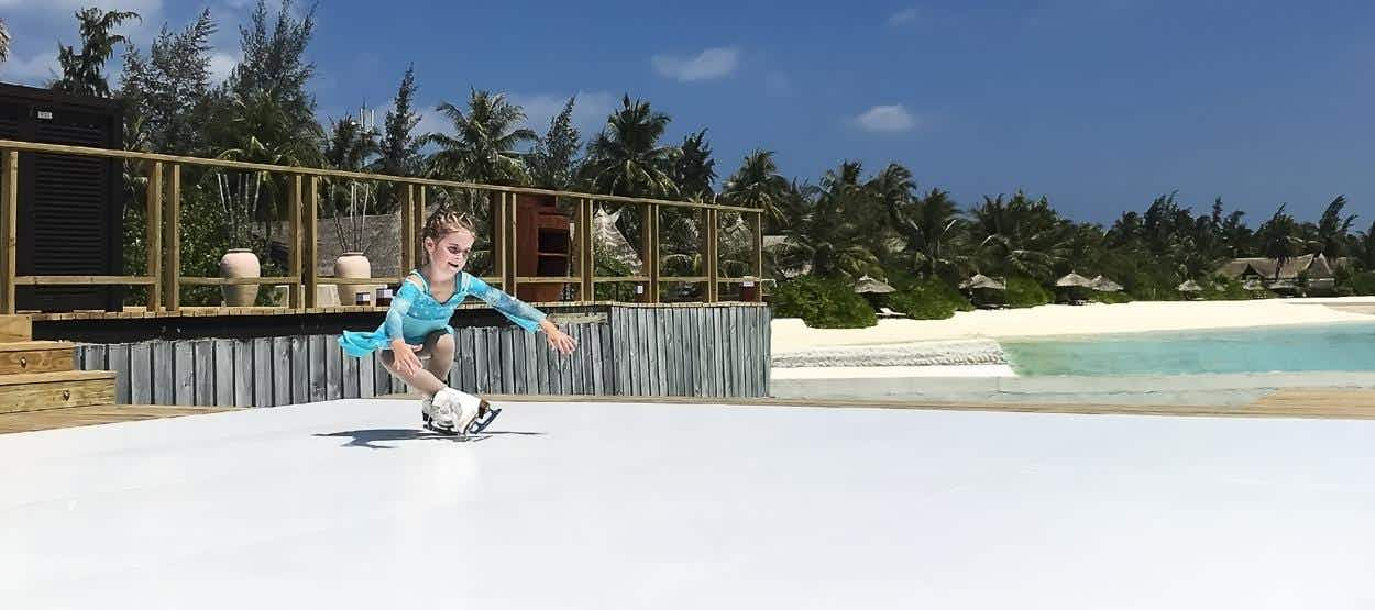 You can now go ice-skating next to the beach as the first ice rink opens in the Maldives
