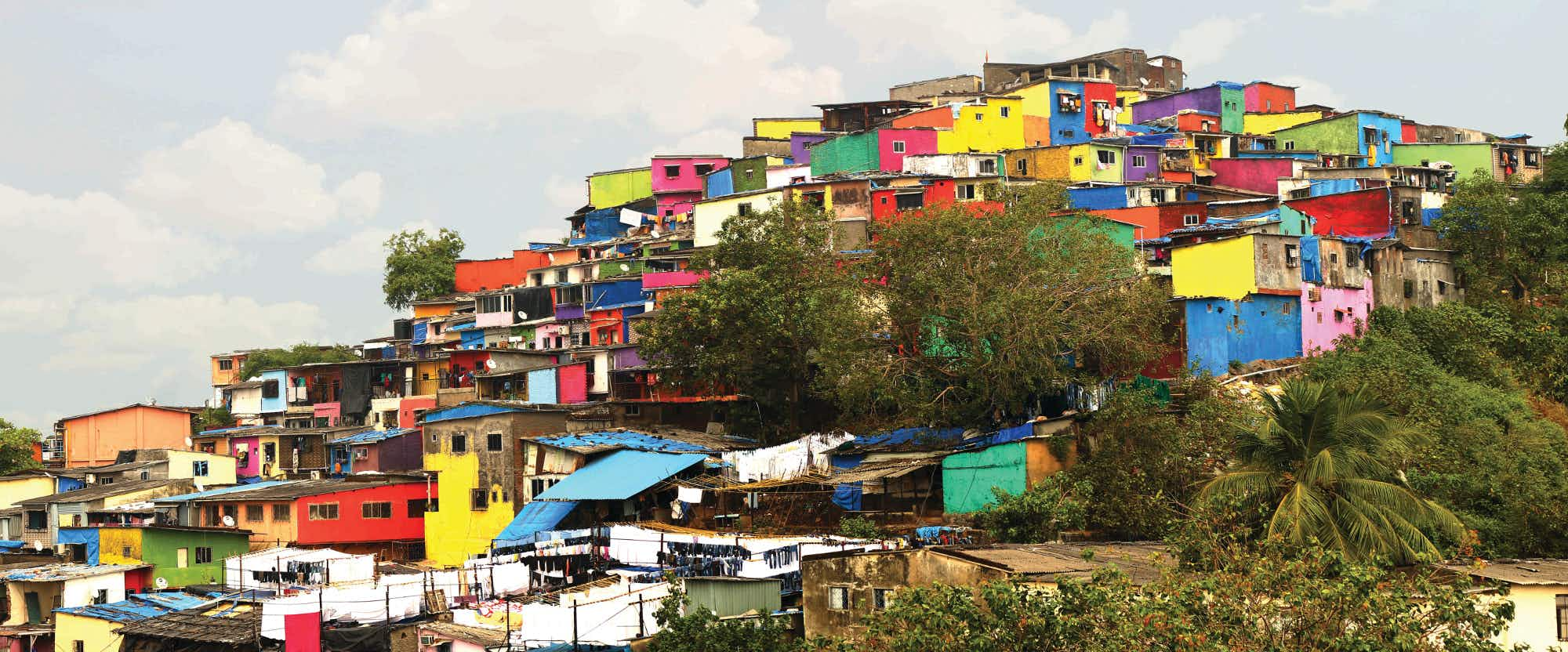 A slum in Mumbai was given a make-over to look like  the Positano of India
