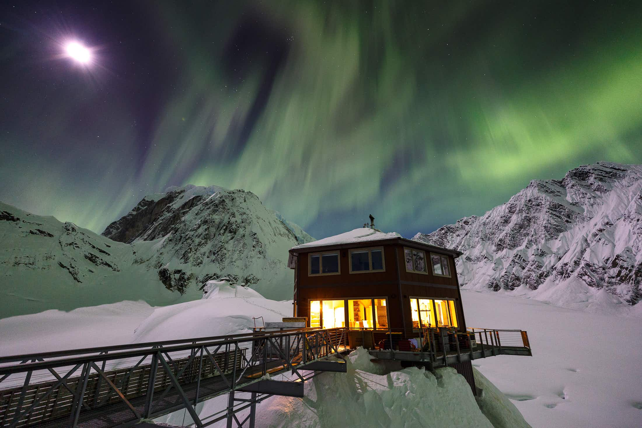 Watch the Northern Lights from this luxury chalet on an Alaskan glacier