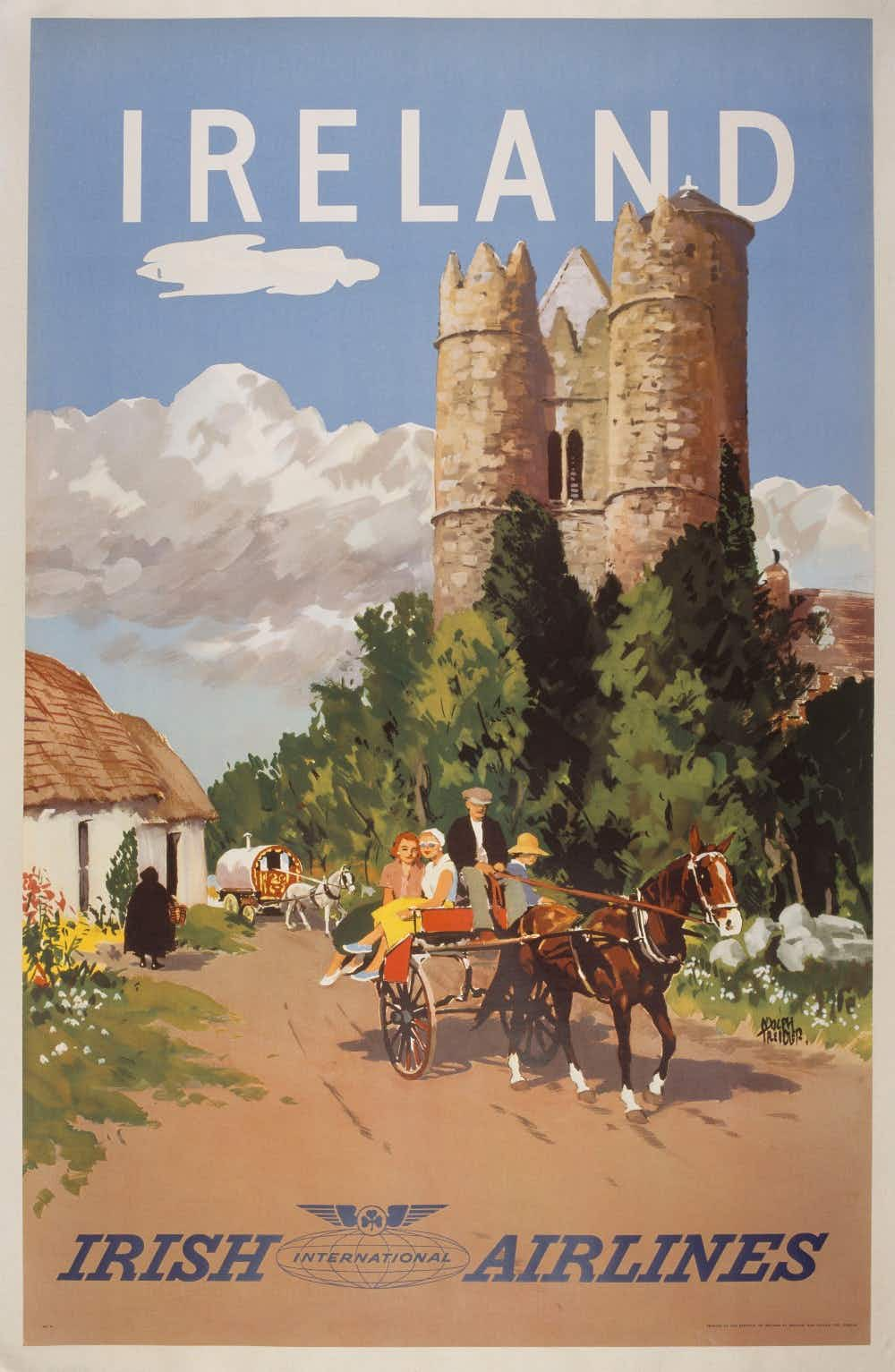 Step back in time with vintage tourism posters depicting romantic Ireland of the 20th century