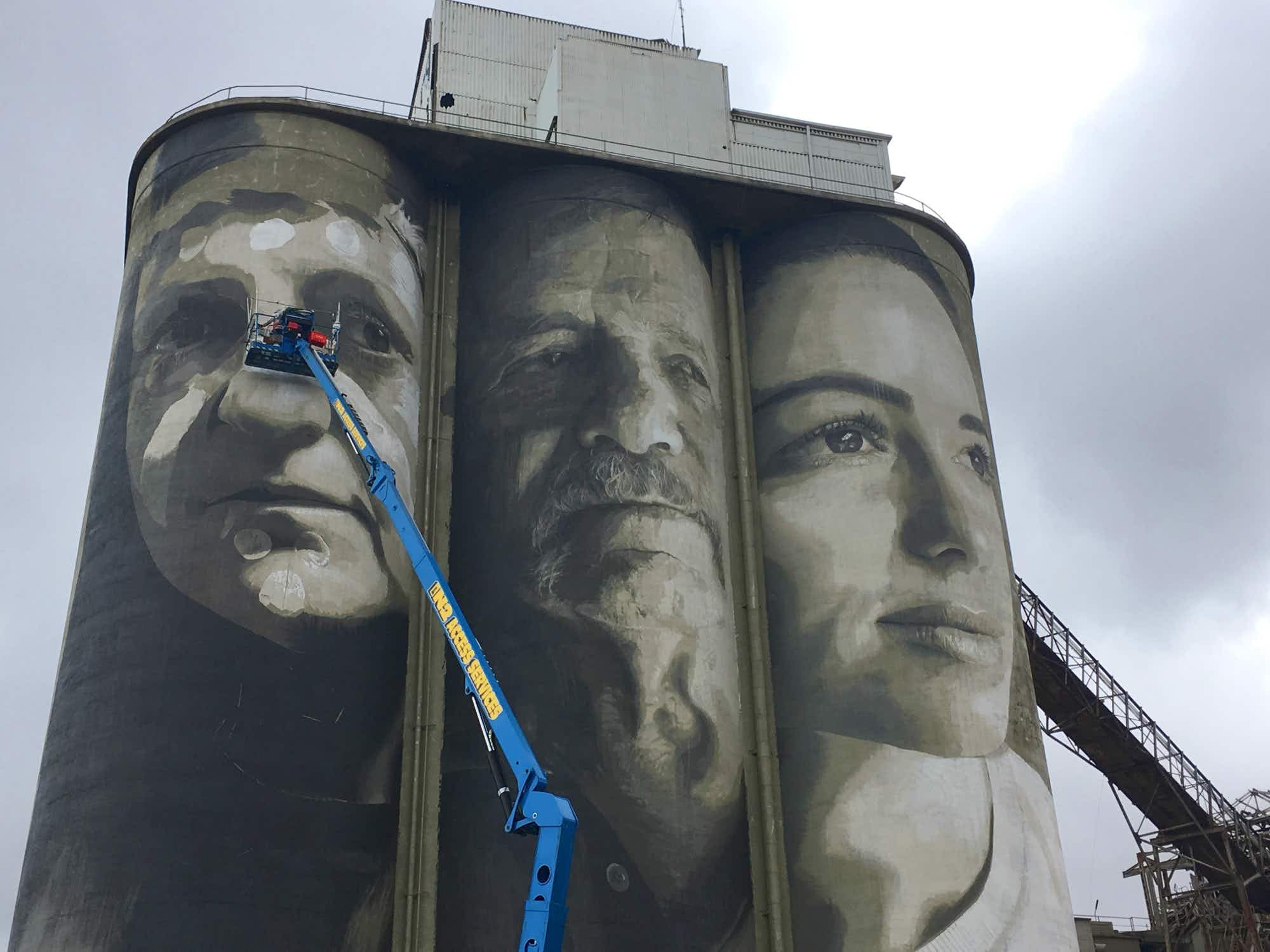 Cement silos in Geelong have been transformed by renowned street artist Rone