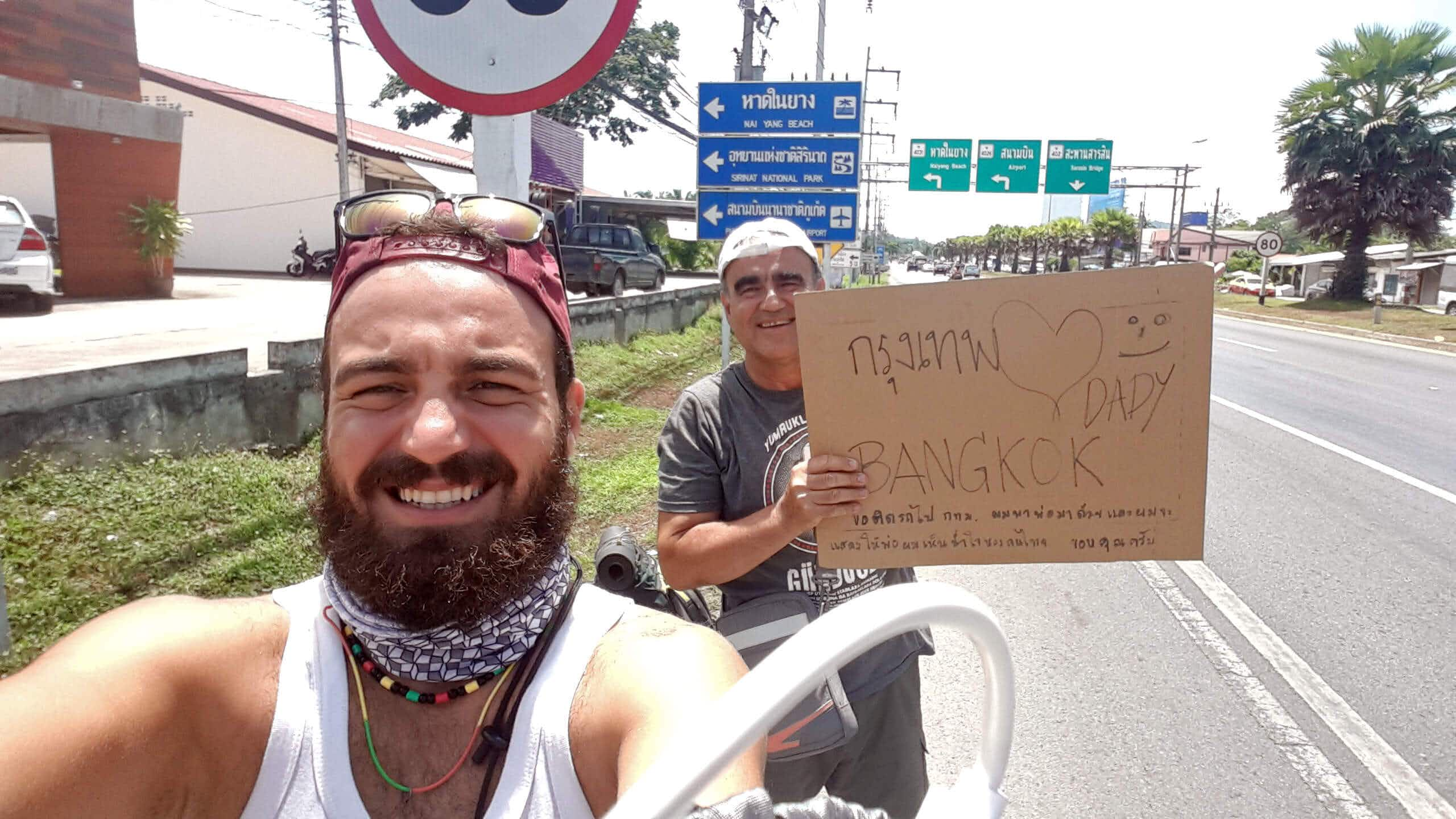 A concerned dad joined his son to hitch-hike around the world