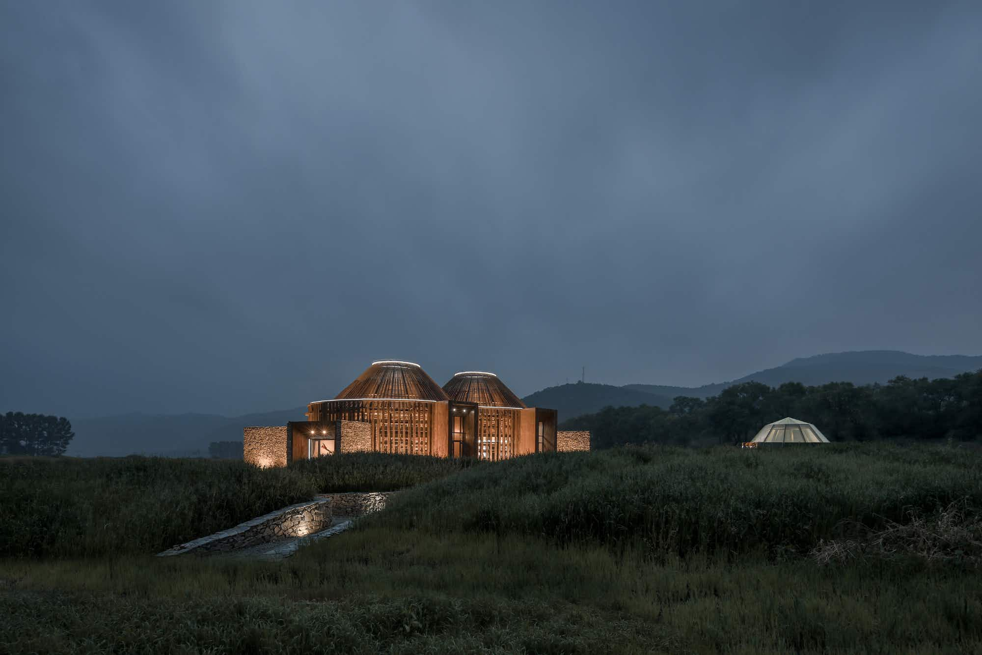 Gaze out on the Chinese landscape from a yurt-inspired cabin